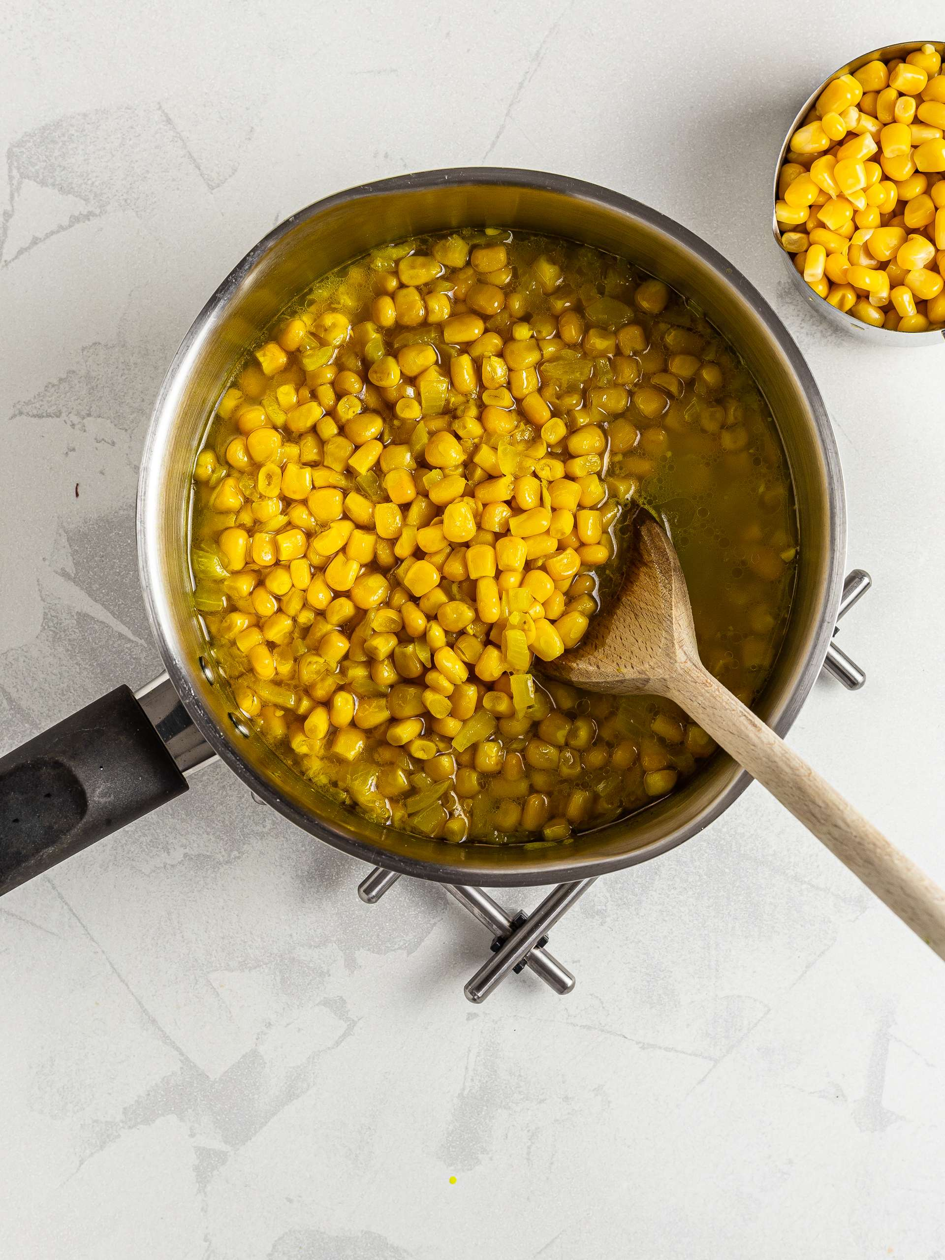 Cooked sweet corn soup
