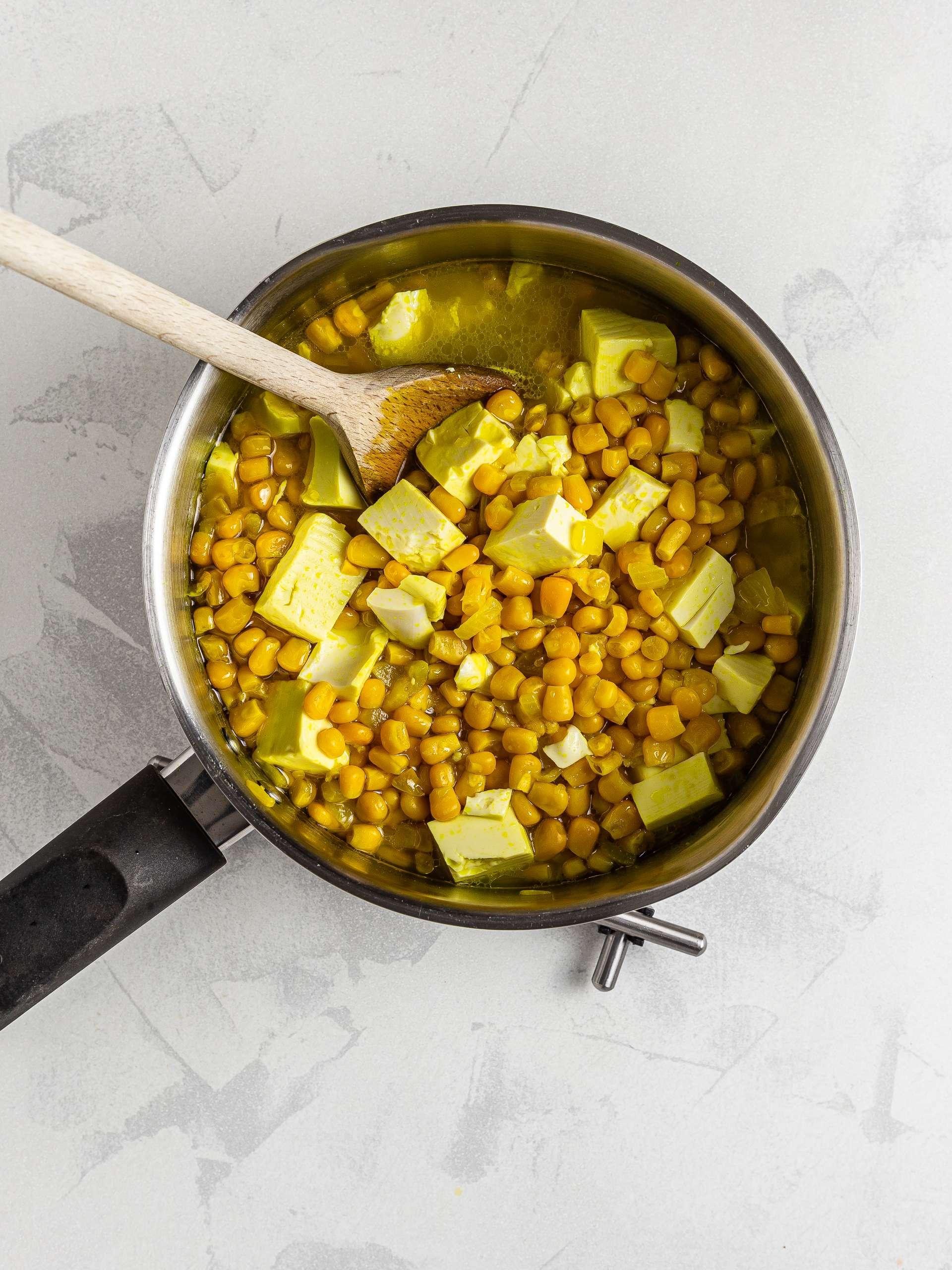 Silken tofu in corn soup