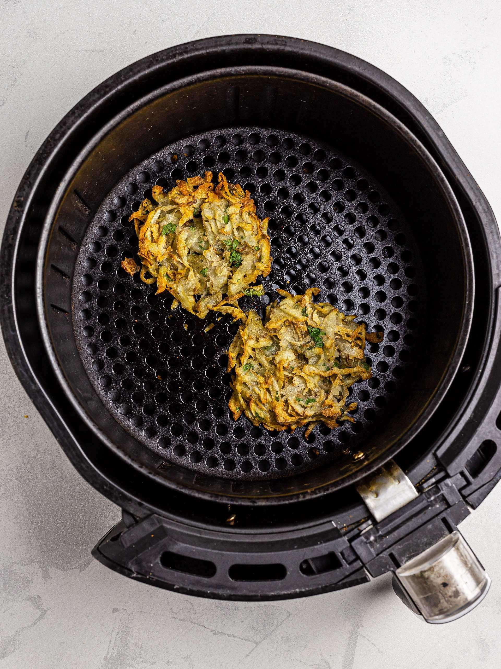 Hash browns in the air-fryer basket