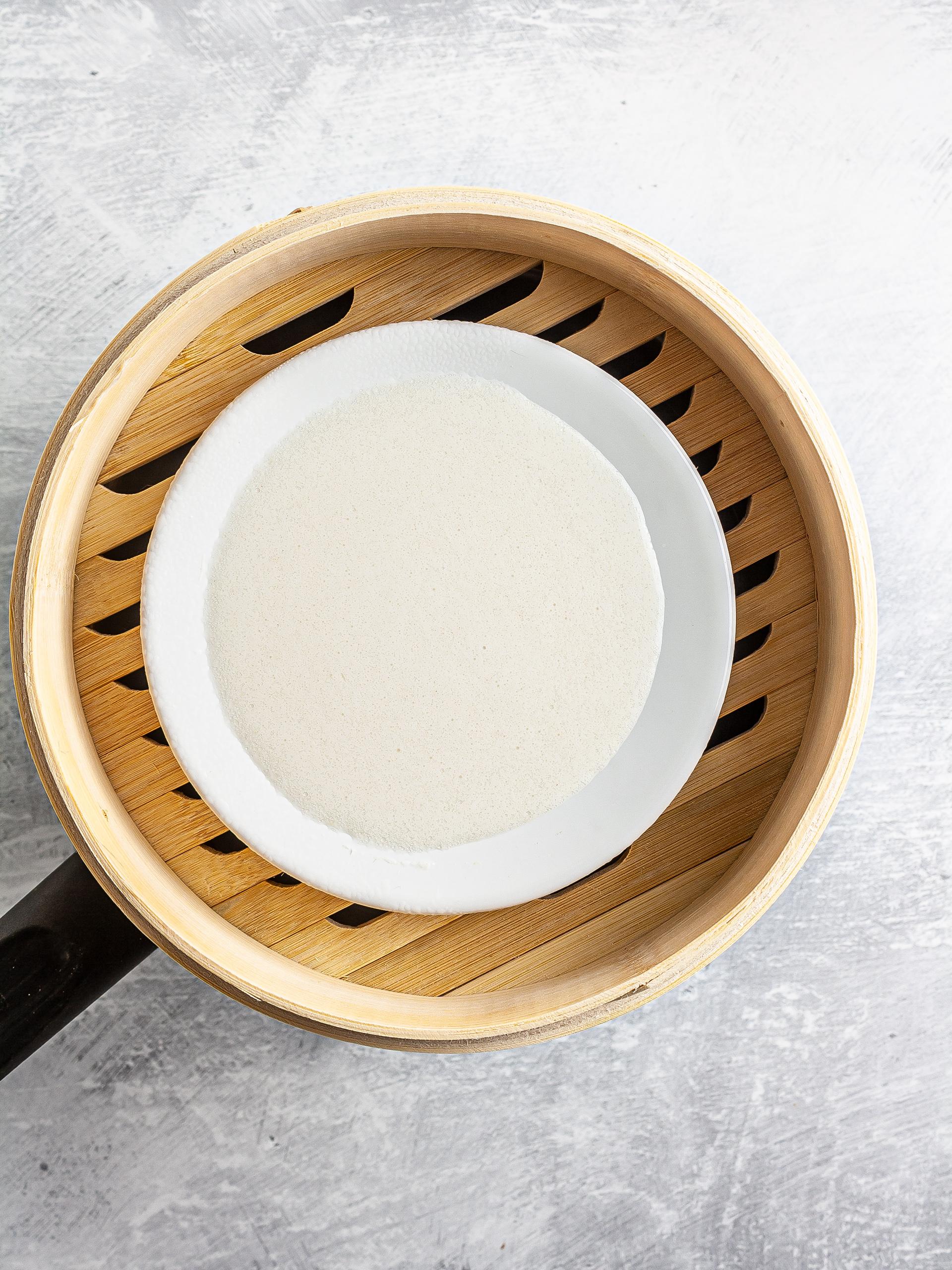 Rice cake batter in the steamer