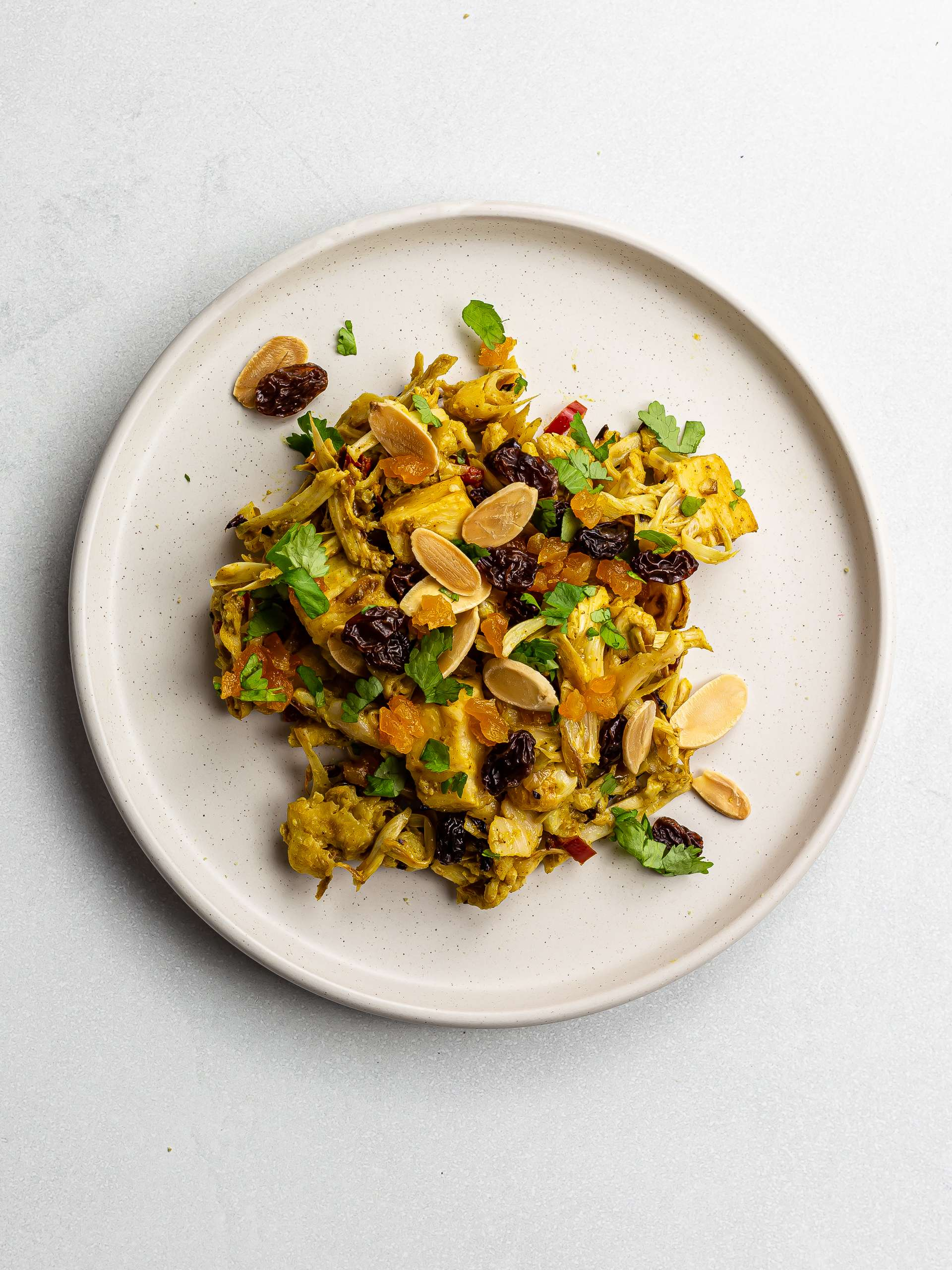 vegan coronation chicken with apricots and almonds