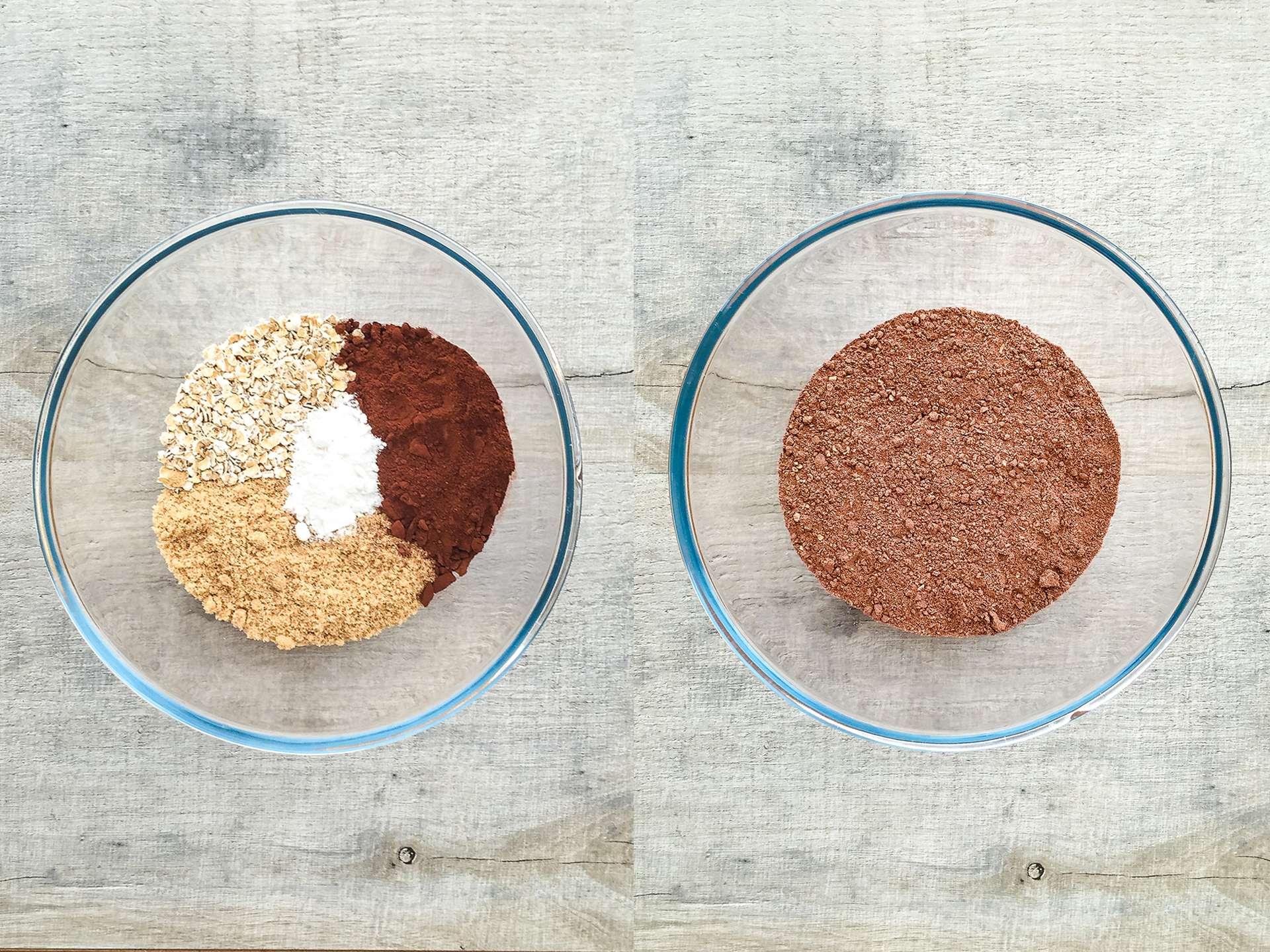 Vegan black bean brownie mix in a bowl