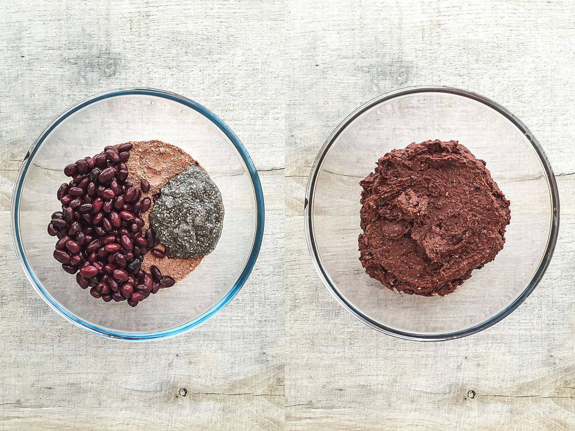 vegan black bean brownies dough in a bowl