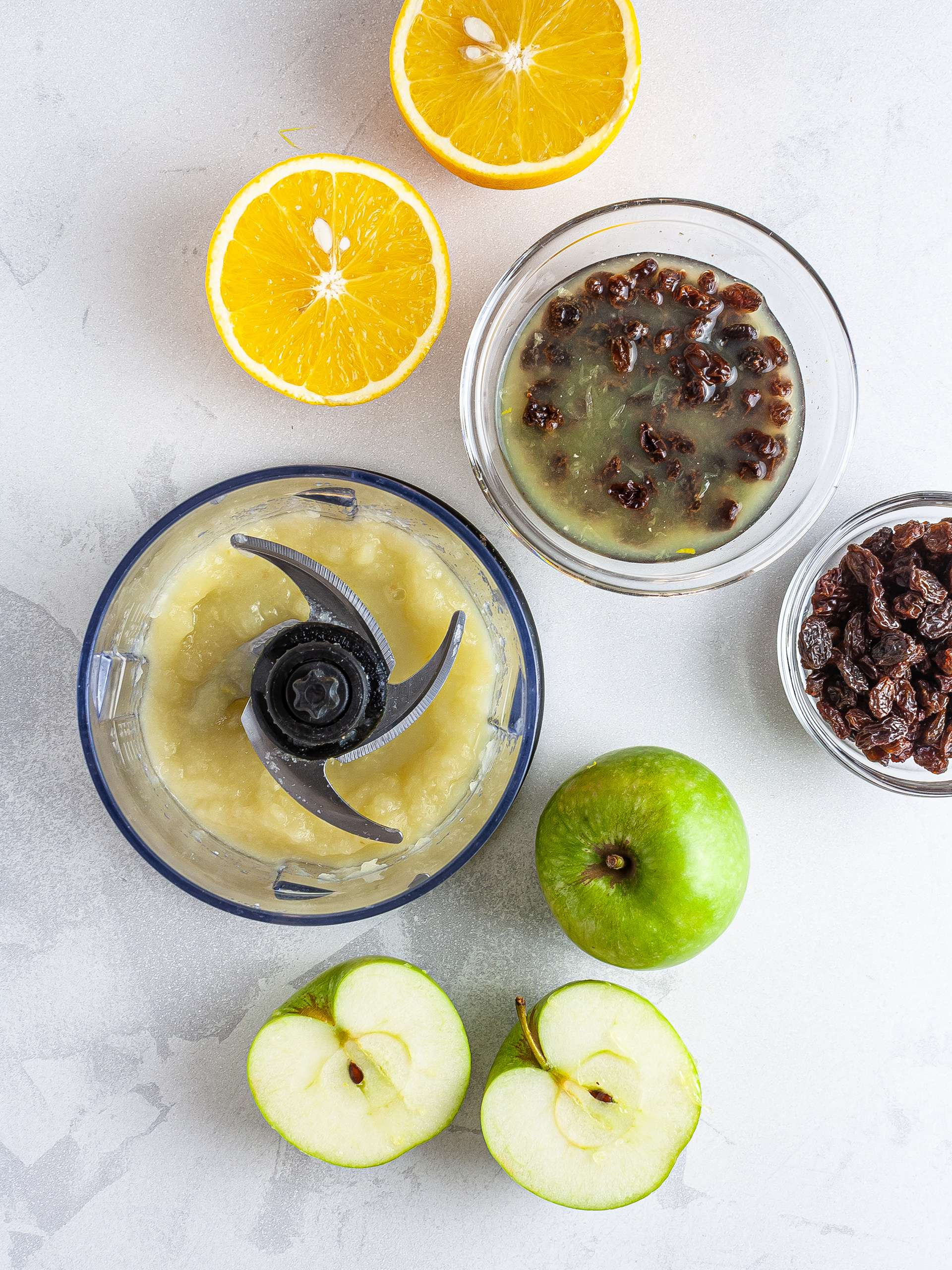 Applesauce and soaked raisins