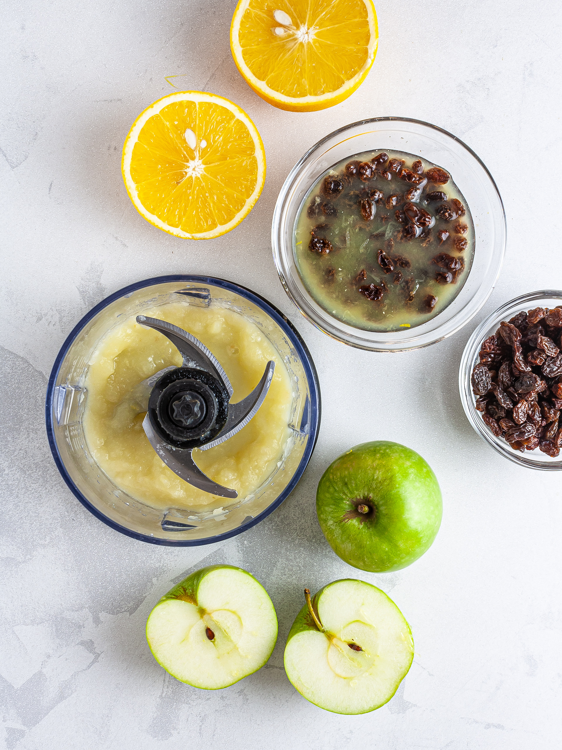 Applesauce and soaked raisins