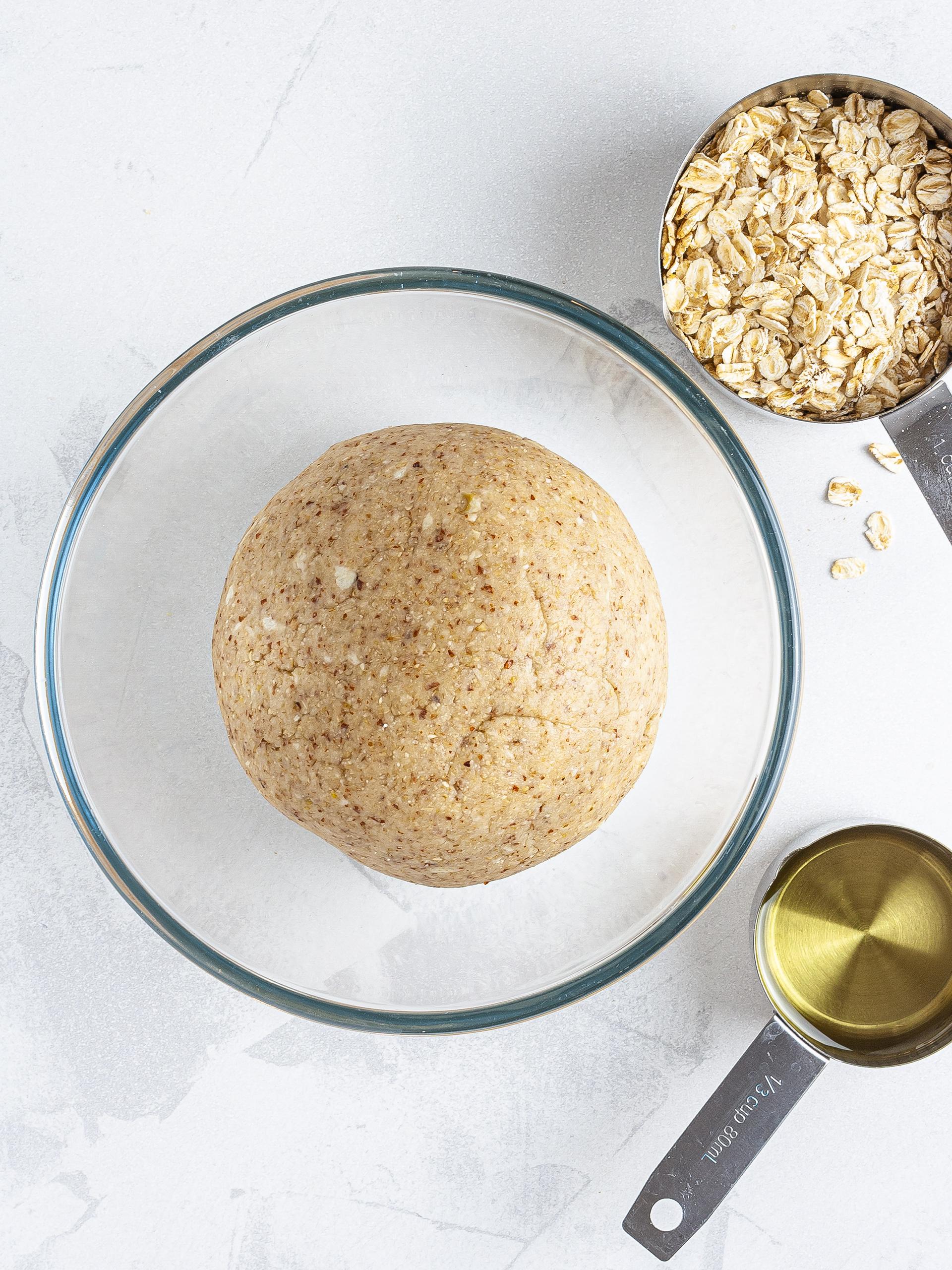 Gluten-free strudel dough in a bowl