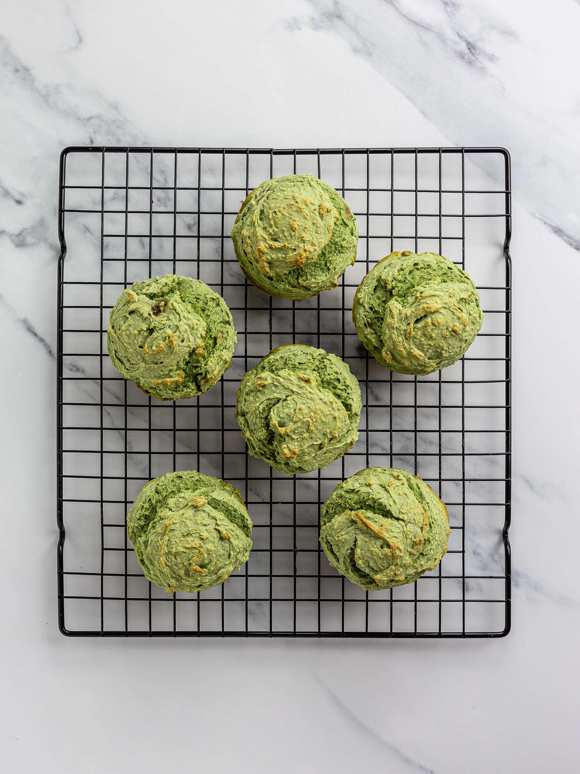 baked pandan muffins