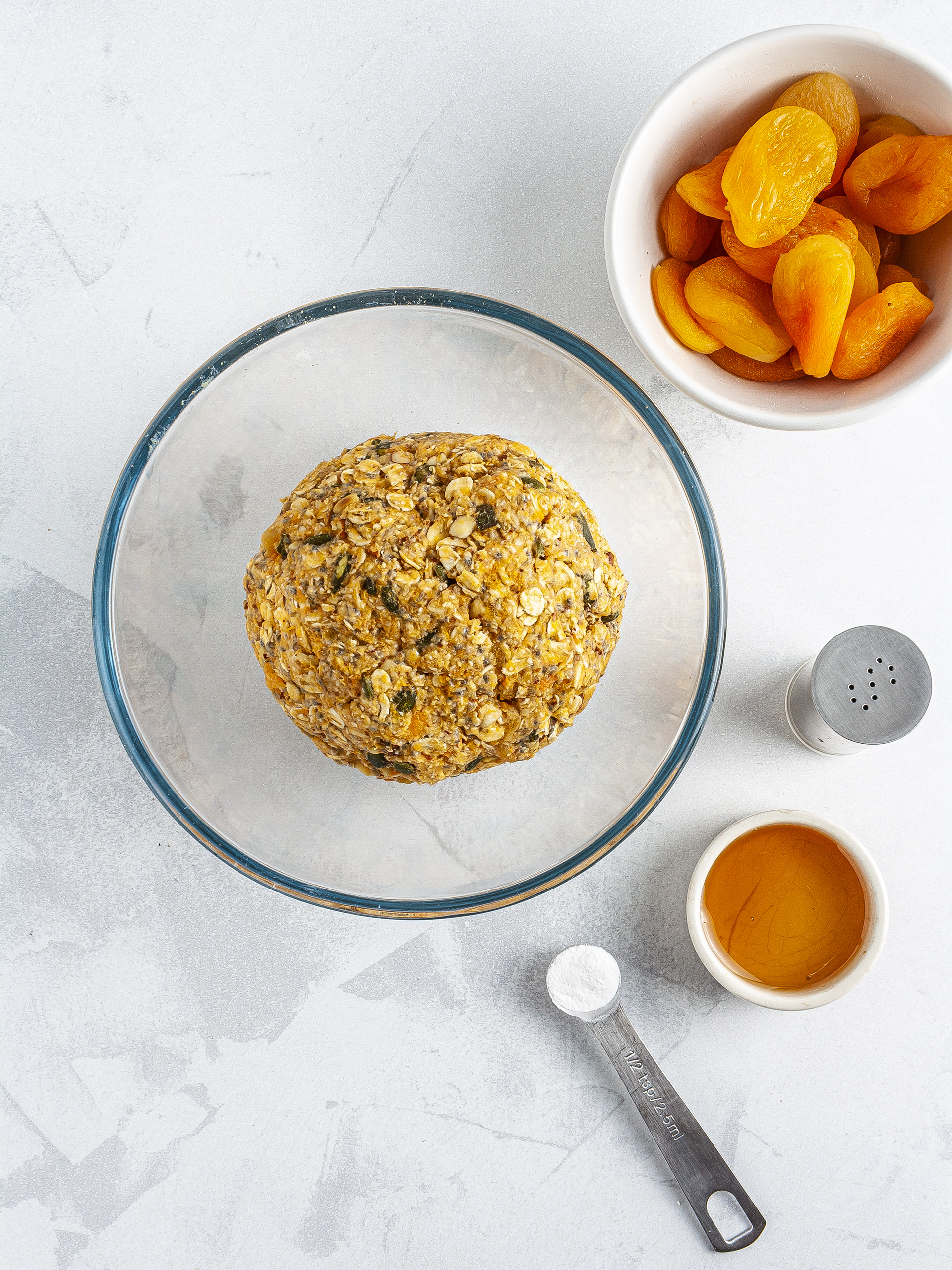 Sweet potato cookie dough with apricots and maple syrup