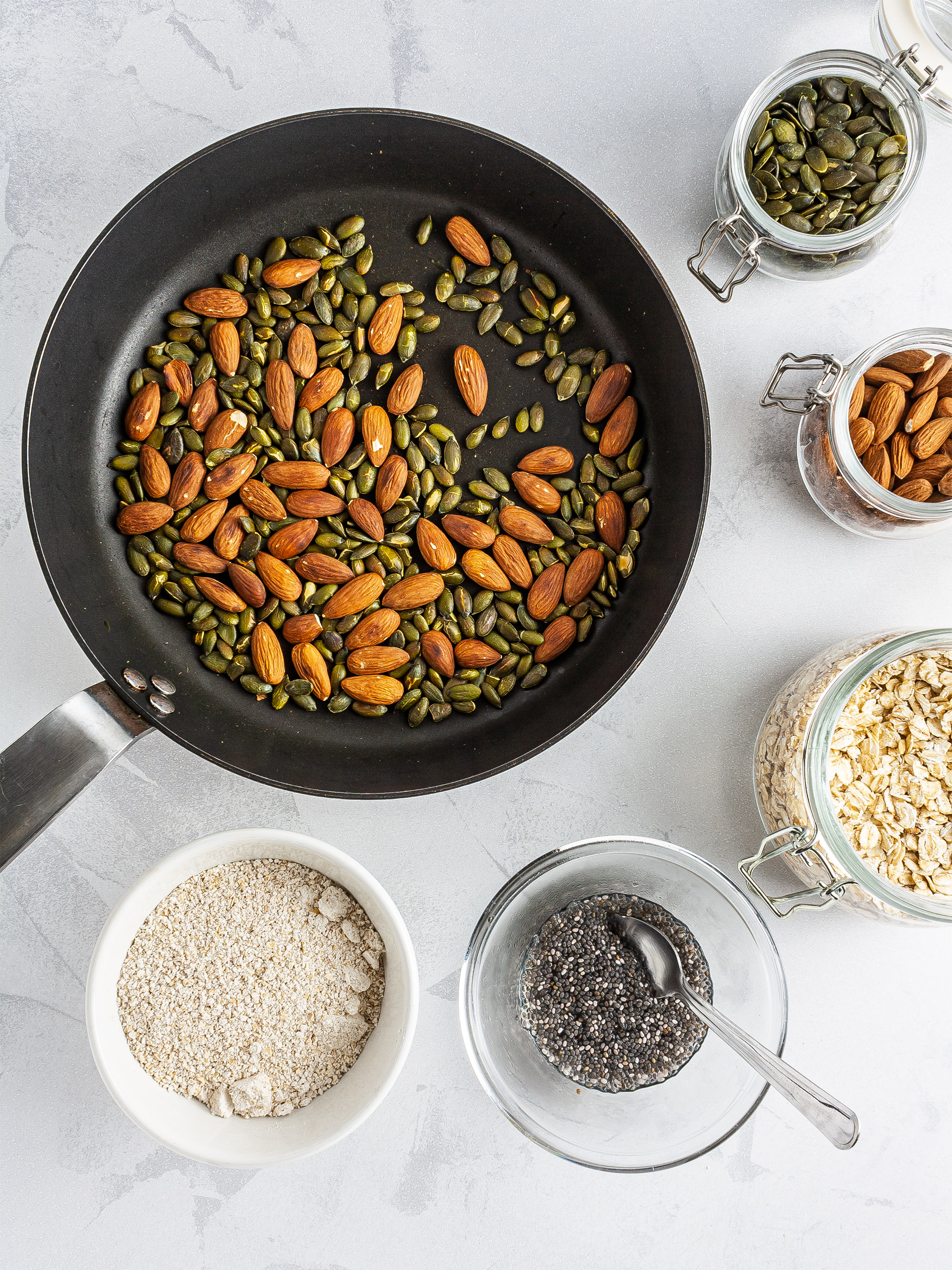 Toasted almond and pumpkin seeds, ground oats, and chia egg
