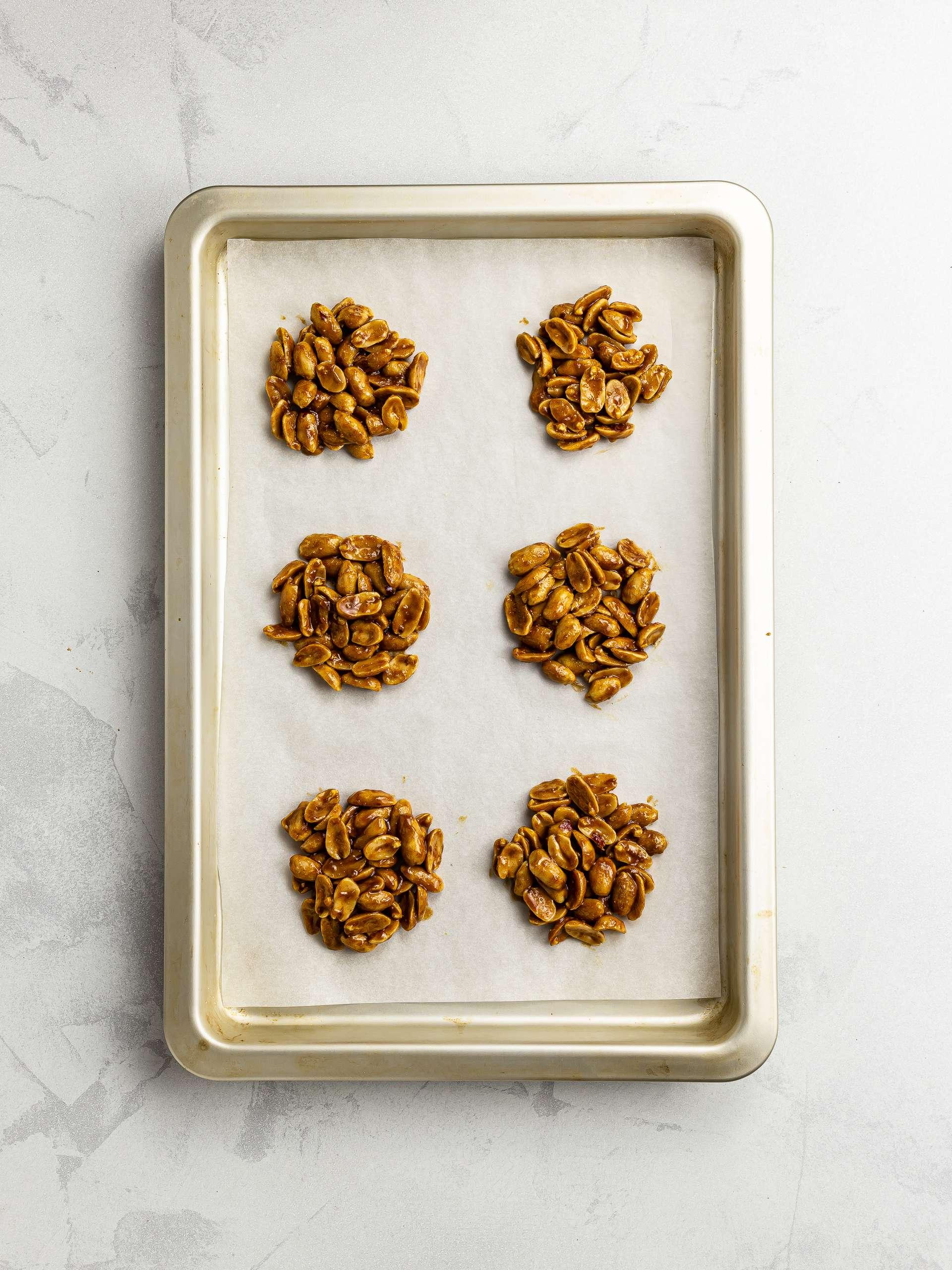 peanut drops on a baking tray