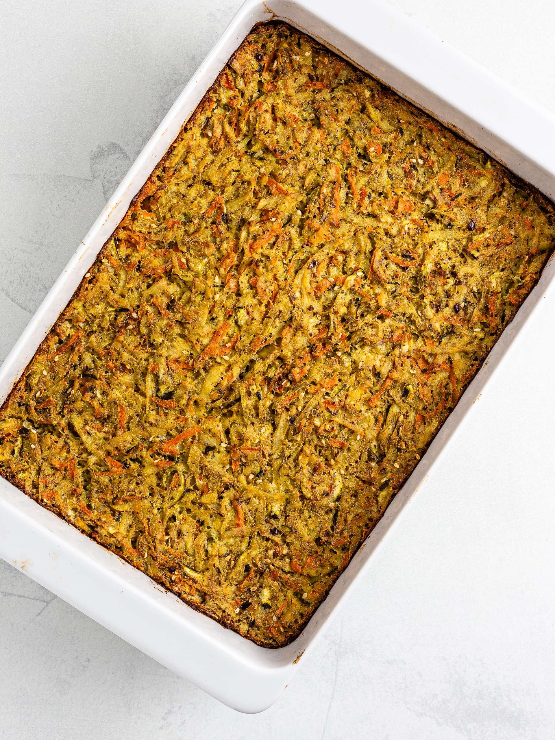 oven-baked vegan kugel