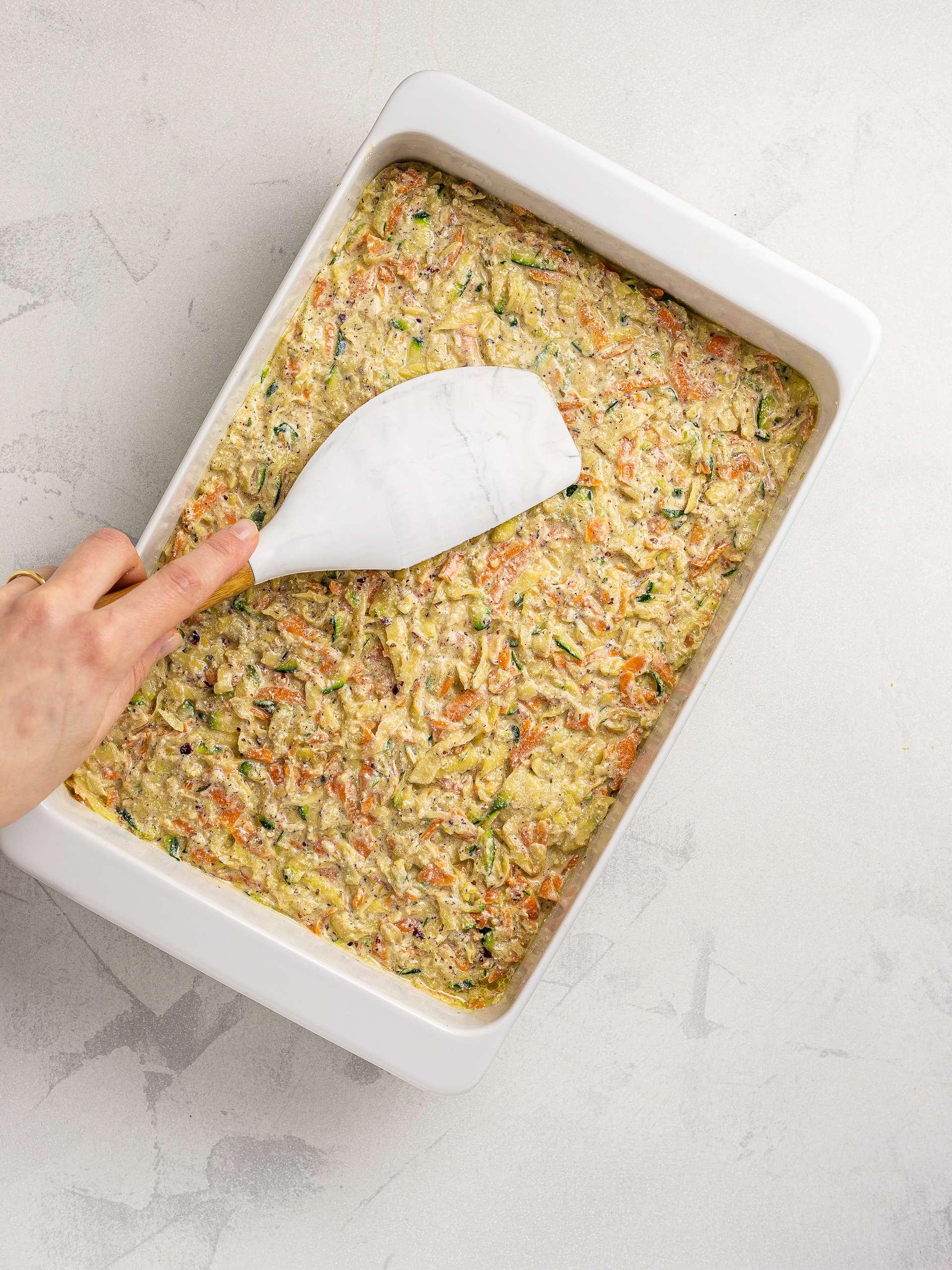vegan kugel in a casserole dish