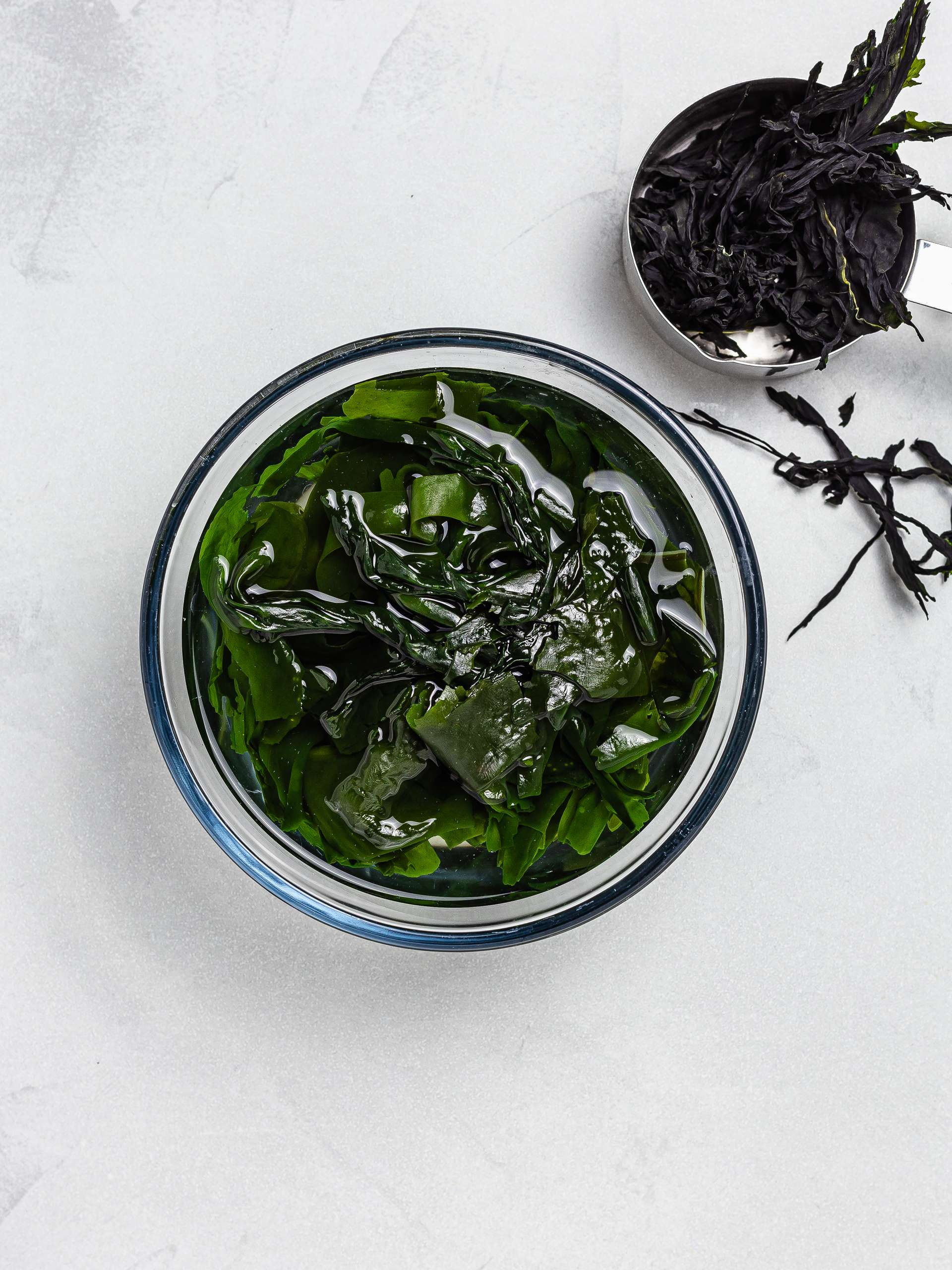 wakame seaweed soaked in water