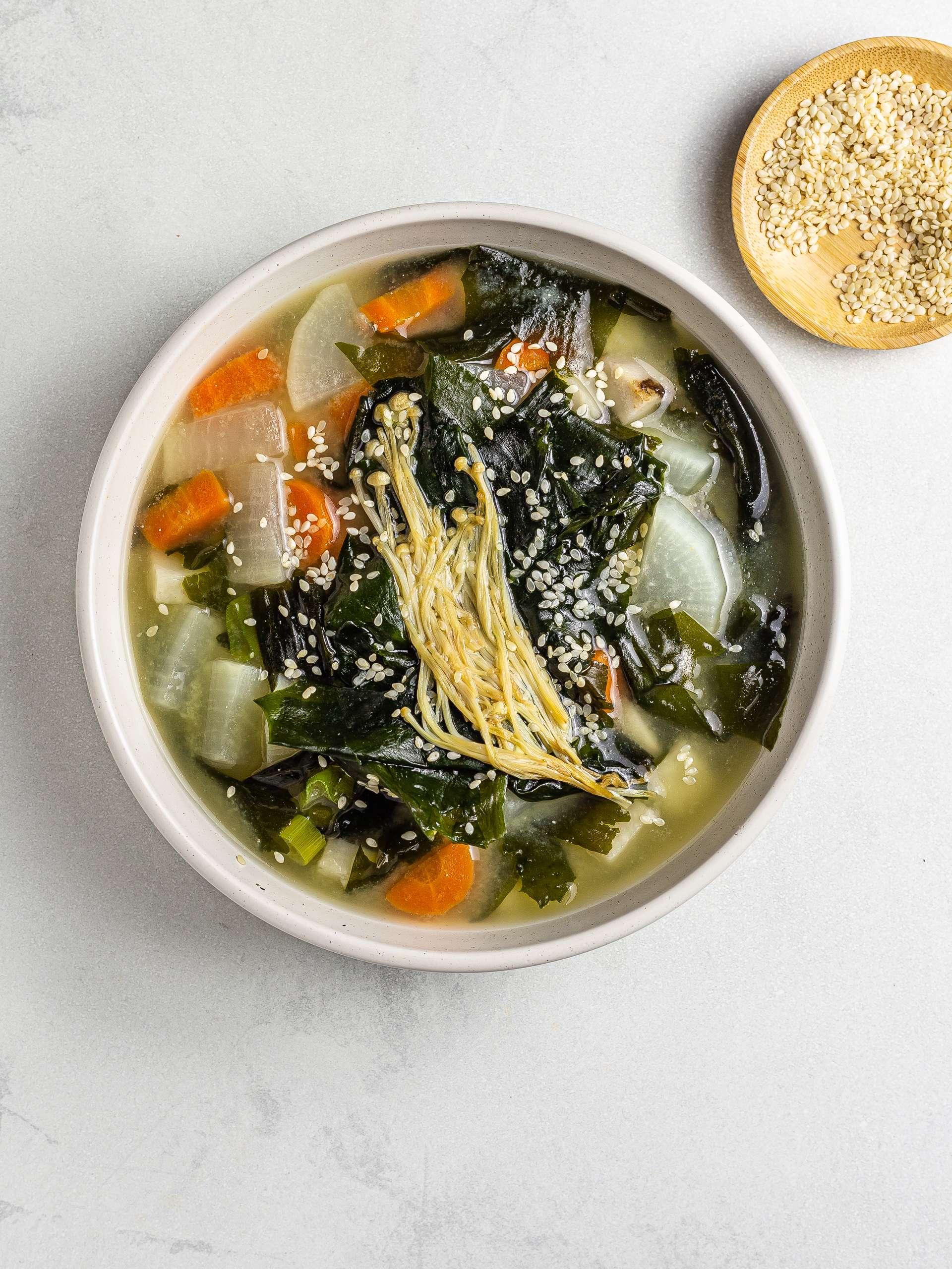 daikon miso soup with enoki mushrooms