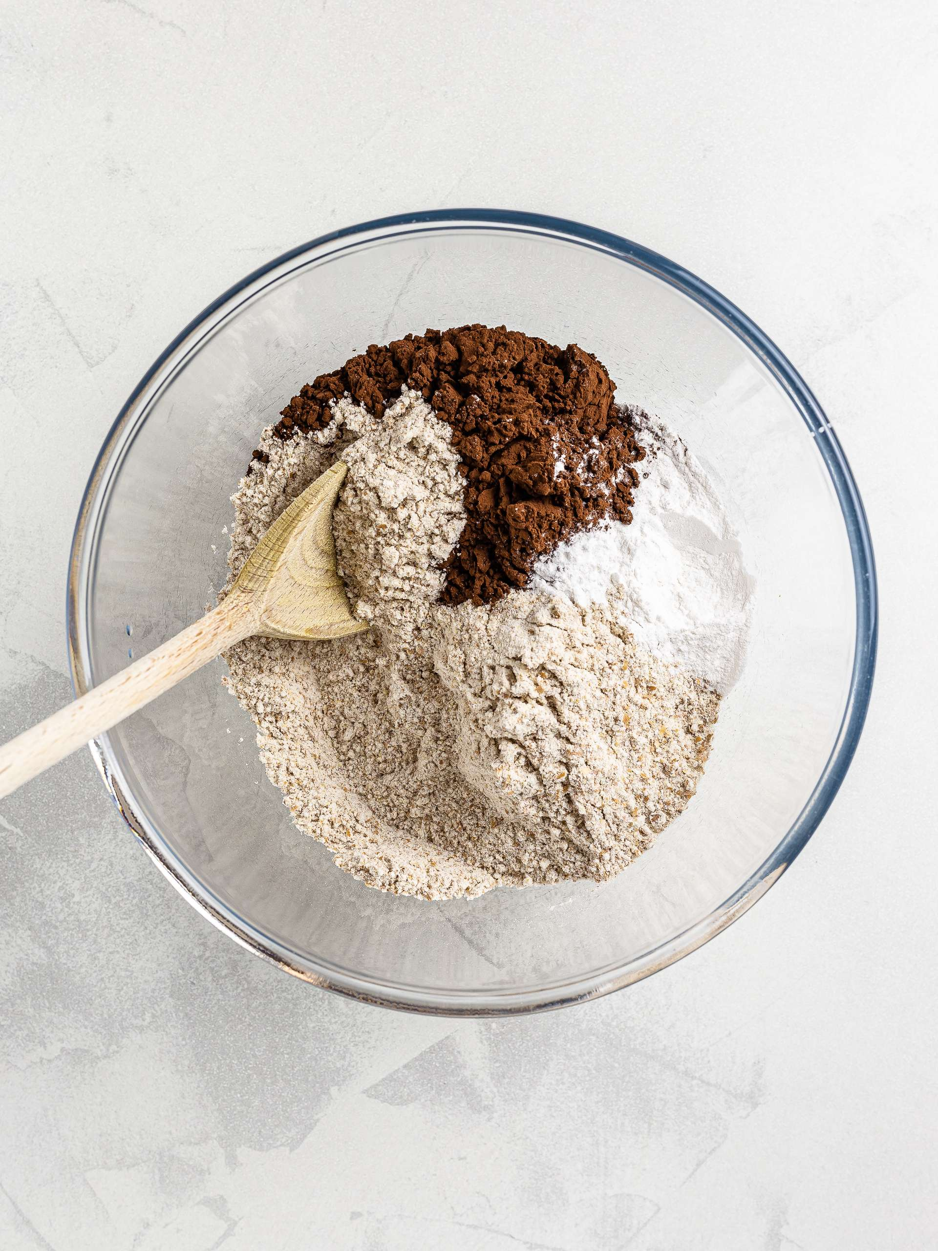 flours and cocoa powder in a bowl