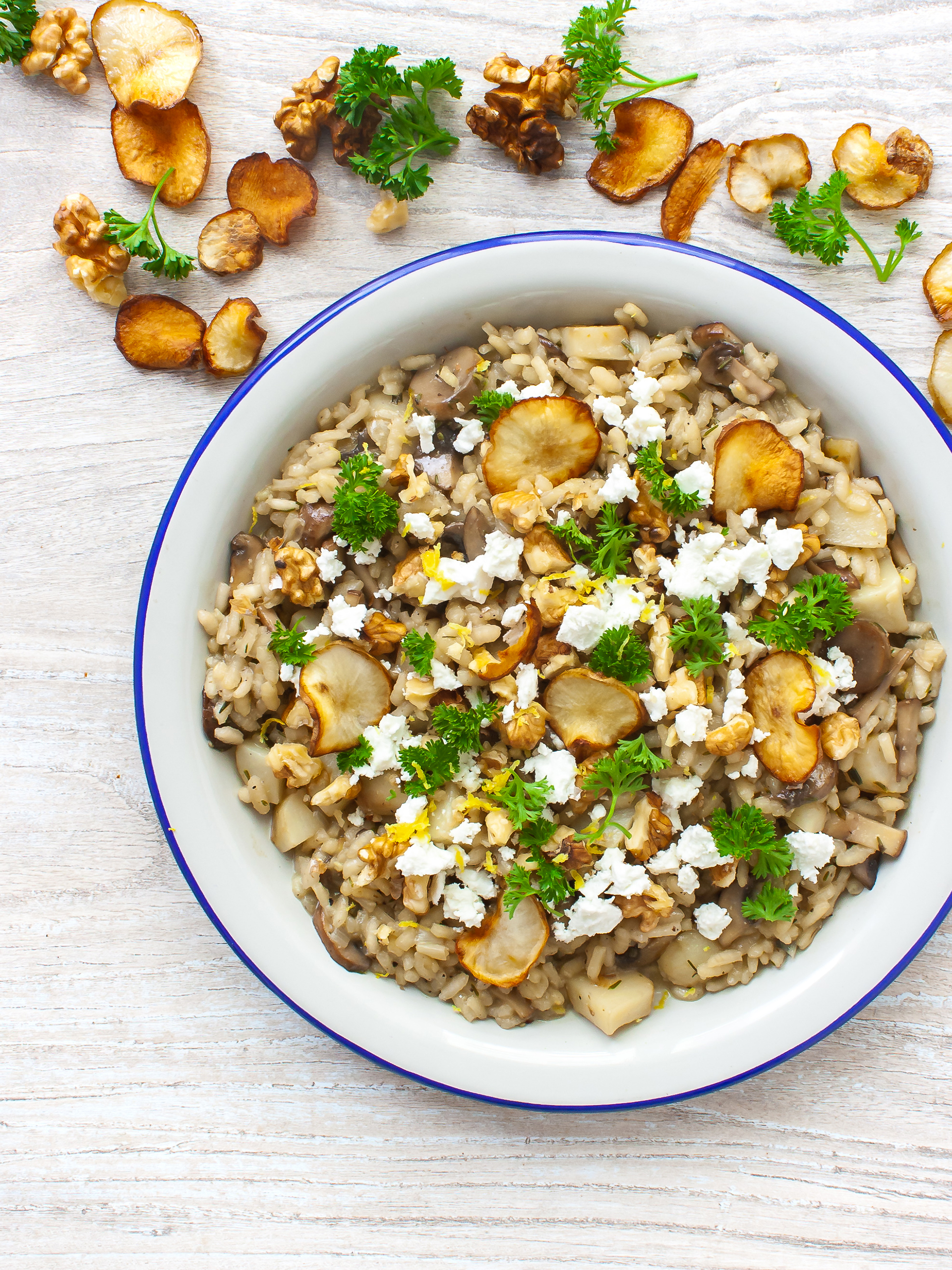 Creamy Mushroom Risotto with Jerusalem Artichokes and Feta Thumbnail