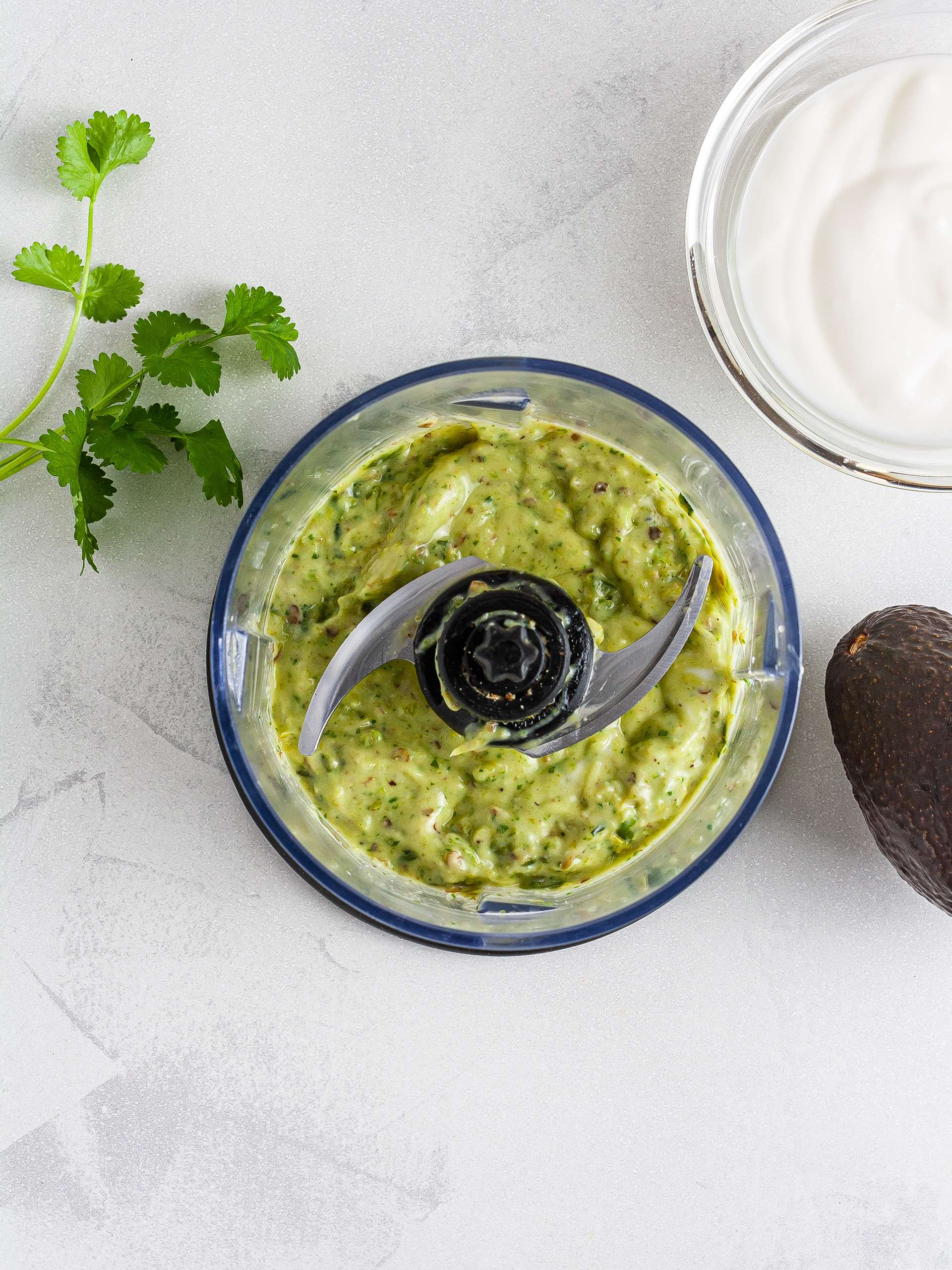 Culichi salsa with avocado, yogurt, and lime
