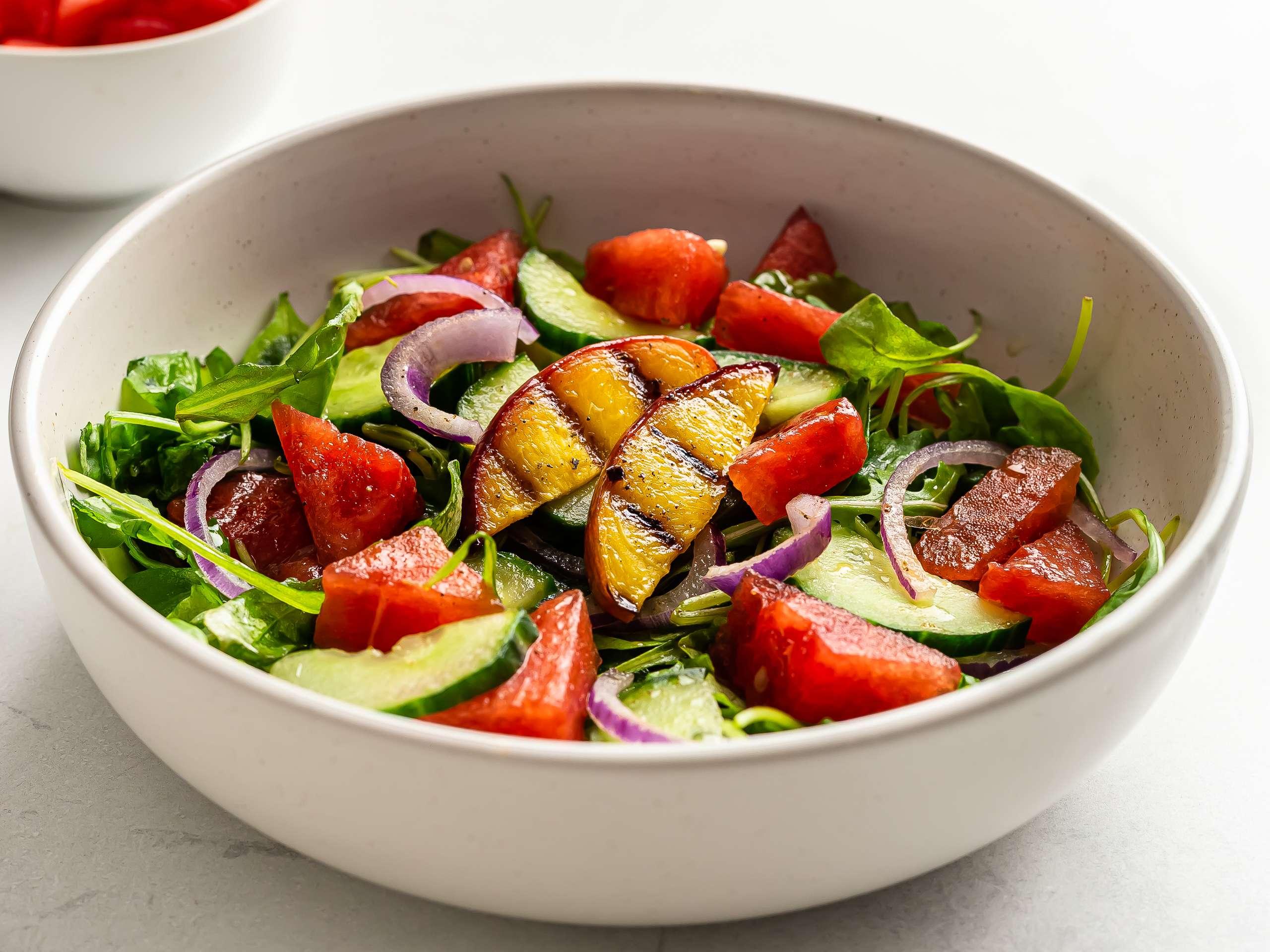 Watermelon Arugula and Grilled Peach Salad