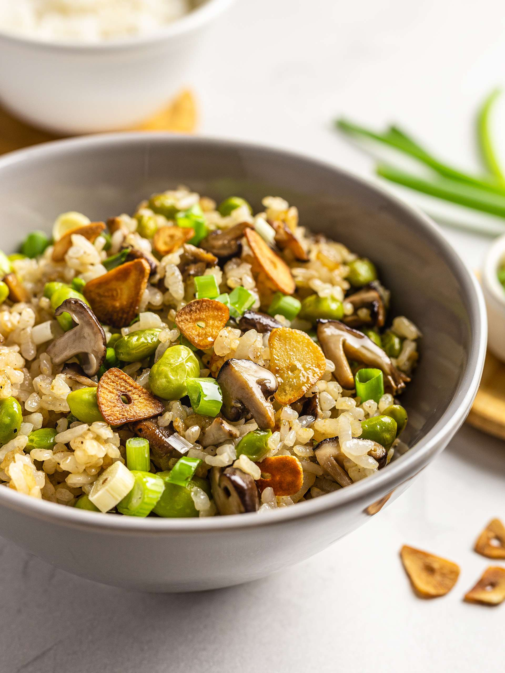 Japanese Garlic Fried Rice with Shiitake and Edamame Thumbnail