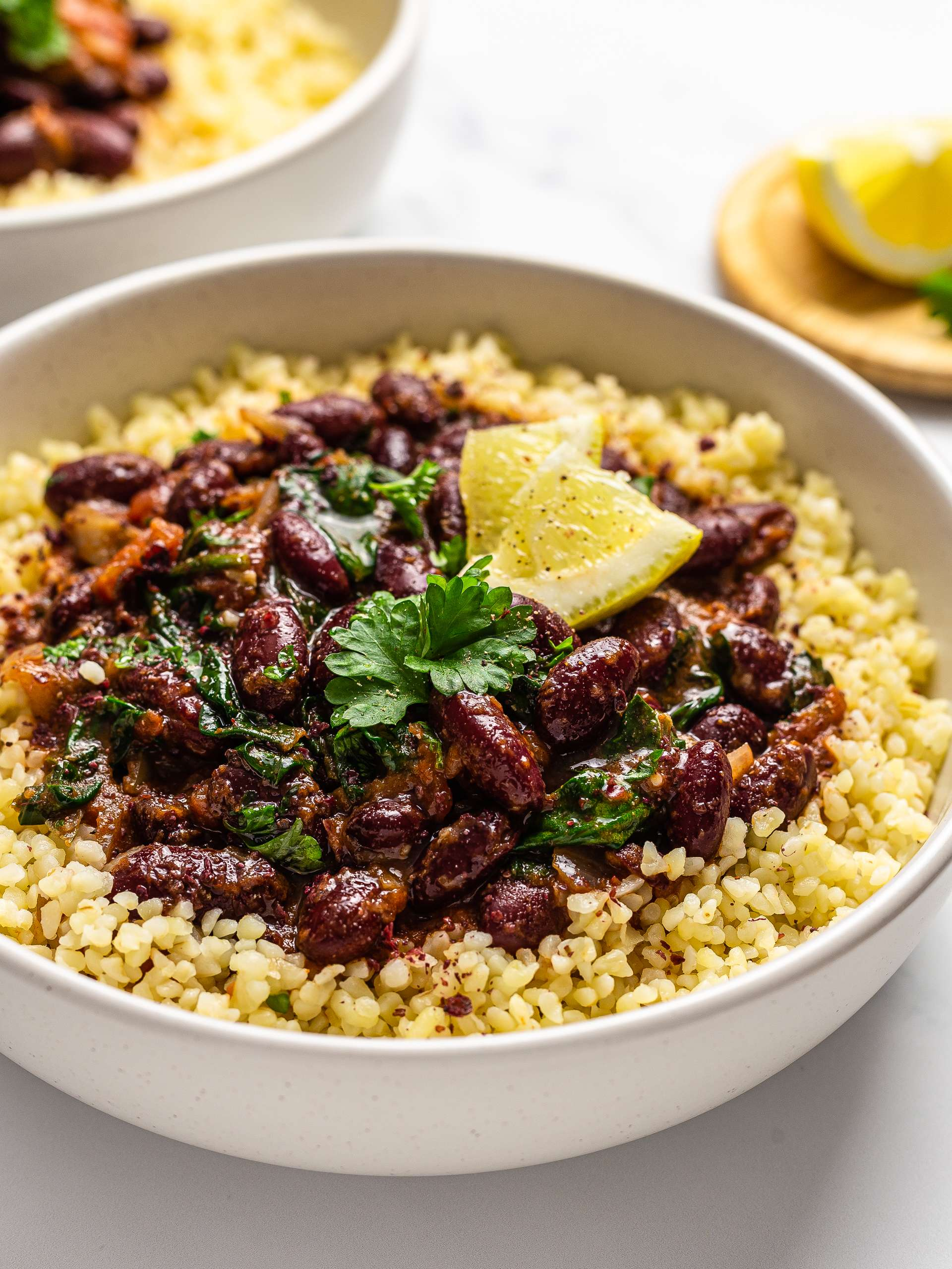 Lebanese fasolia with bulgur wheat