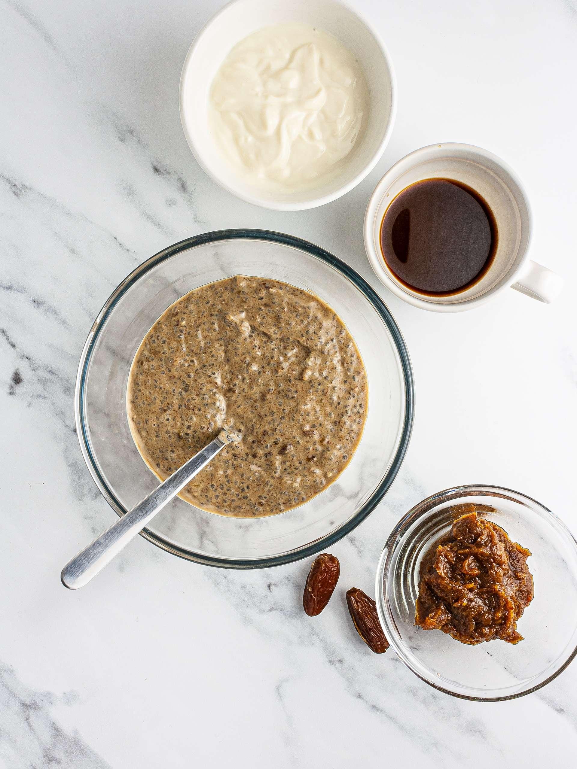 Date paste, chia seeds, yogurt, and coffee mixture.