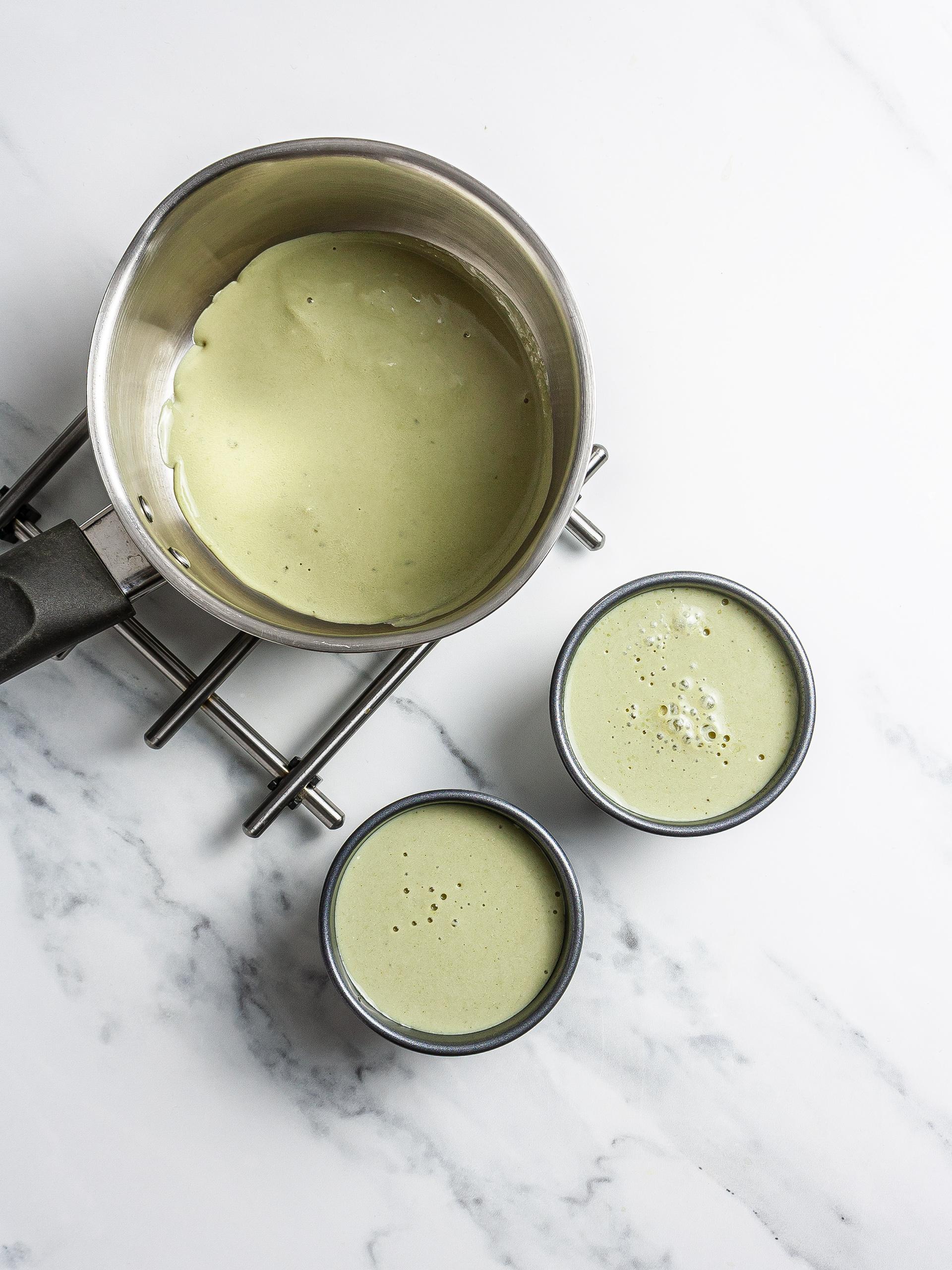 Matcha pudding in ramekins