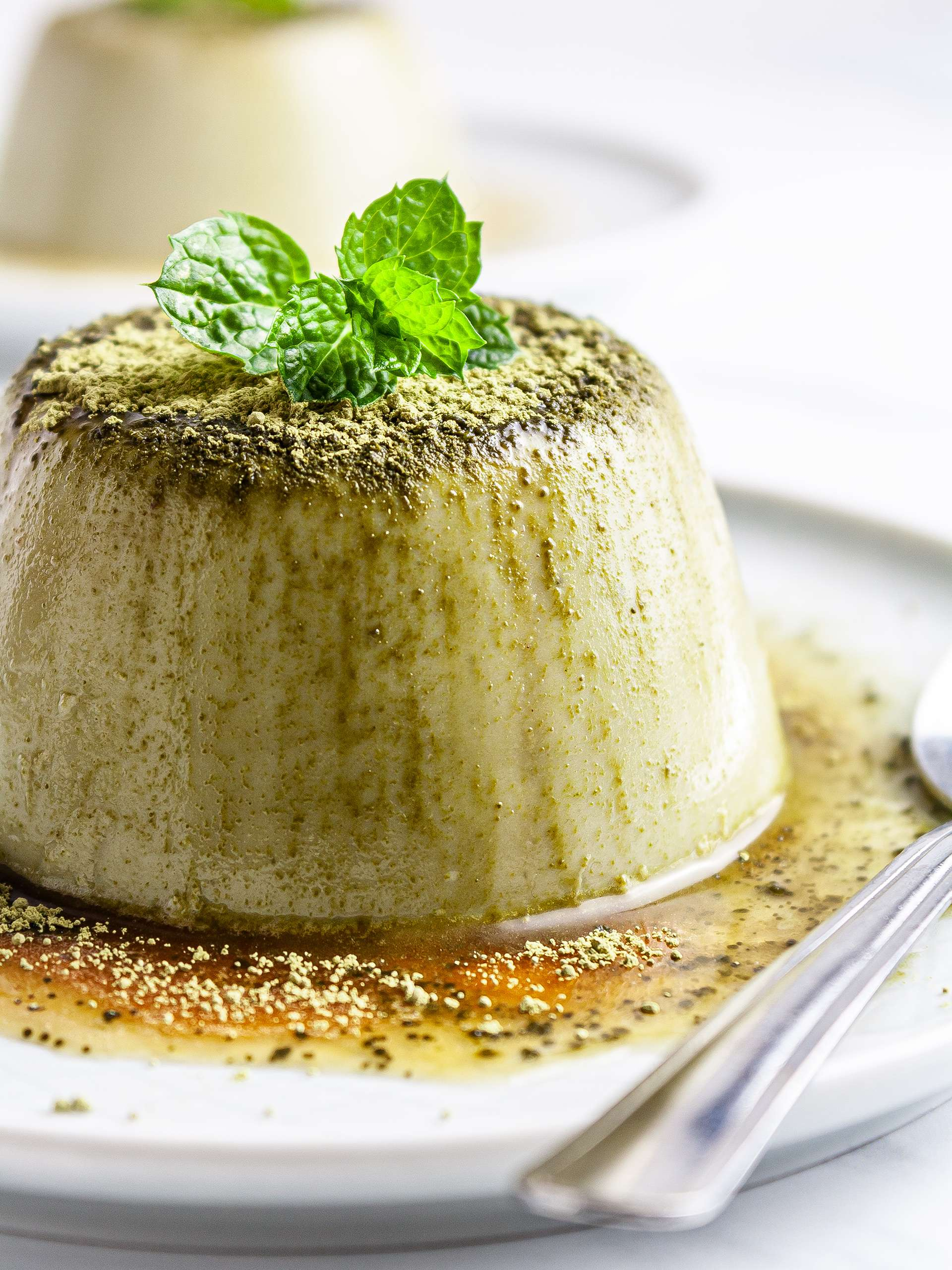 Vegan Matcha Flan with Date Caramel Recipe