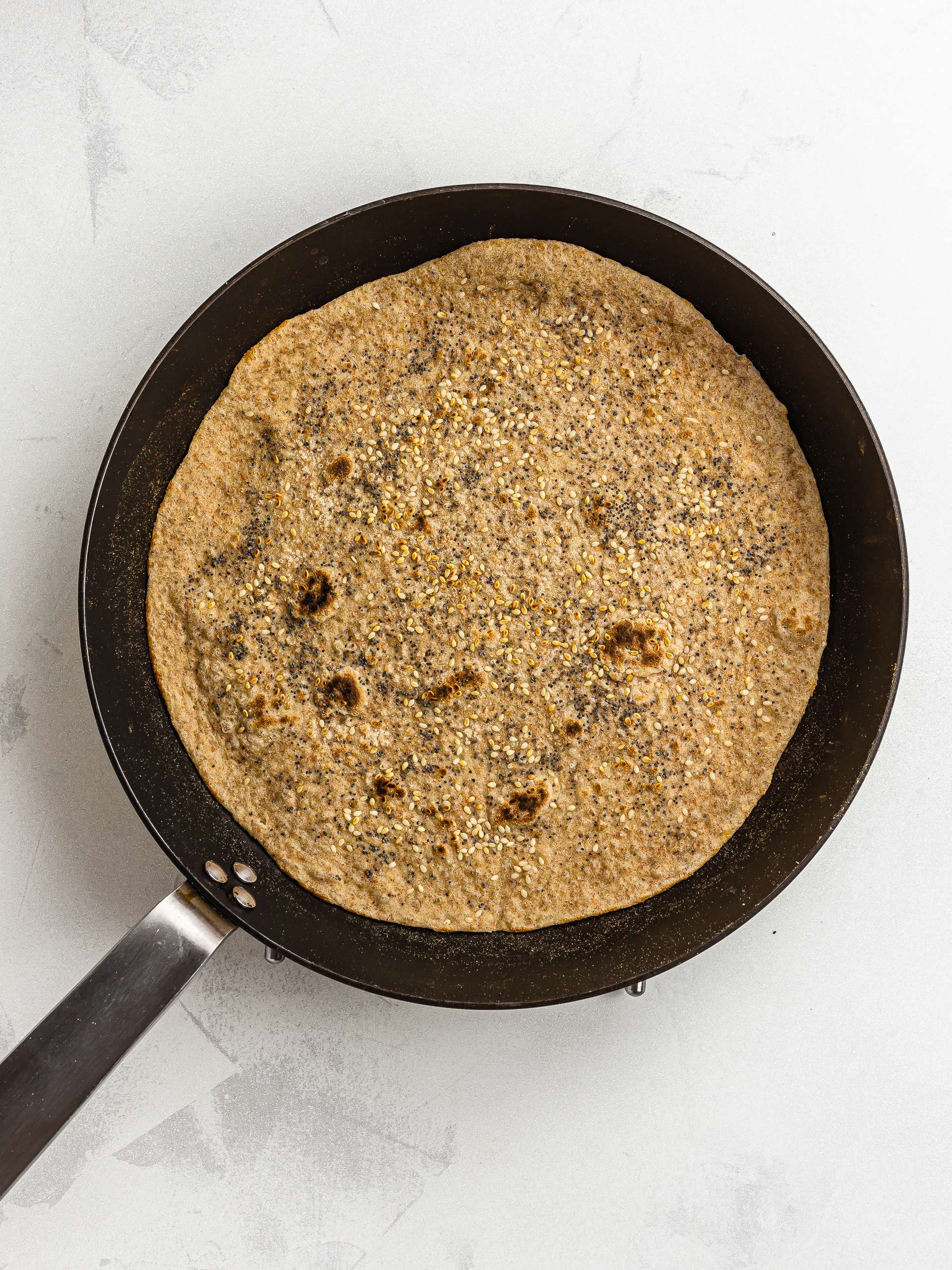 lavash bread wrap cooked in a skillet