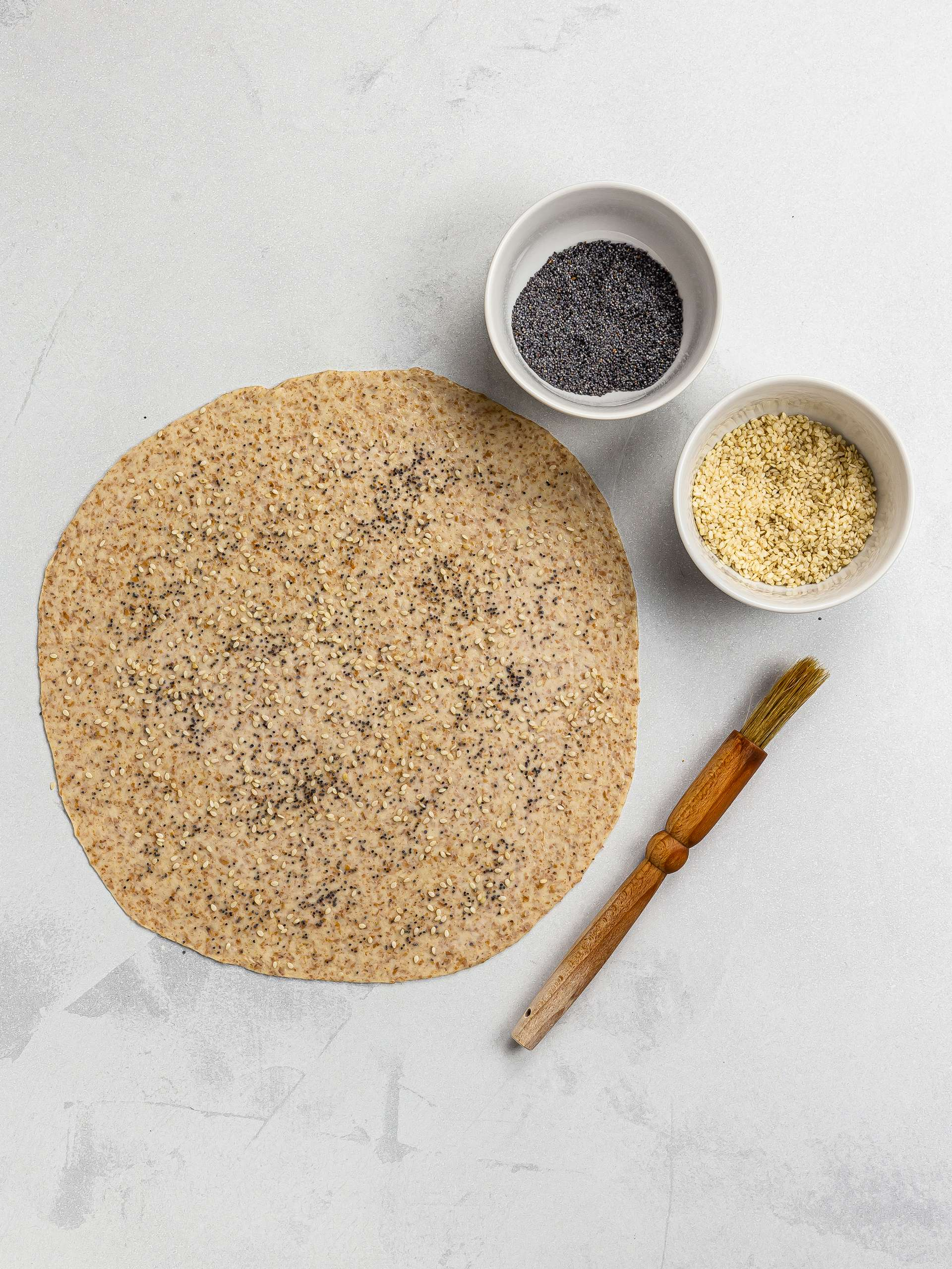 lavash flatbread with poppy and sesame seeds