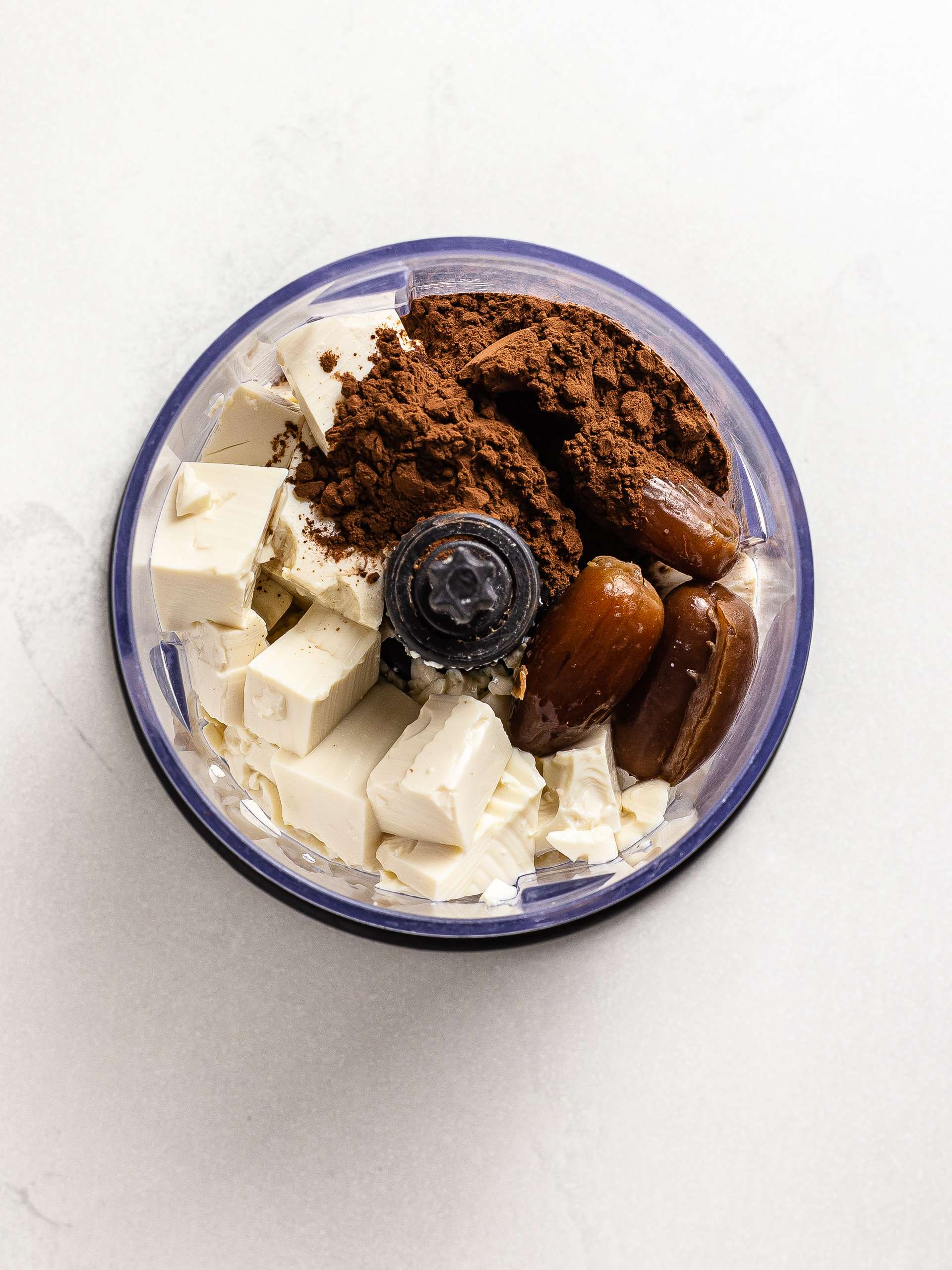 silken tofu and cocoa in a blender