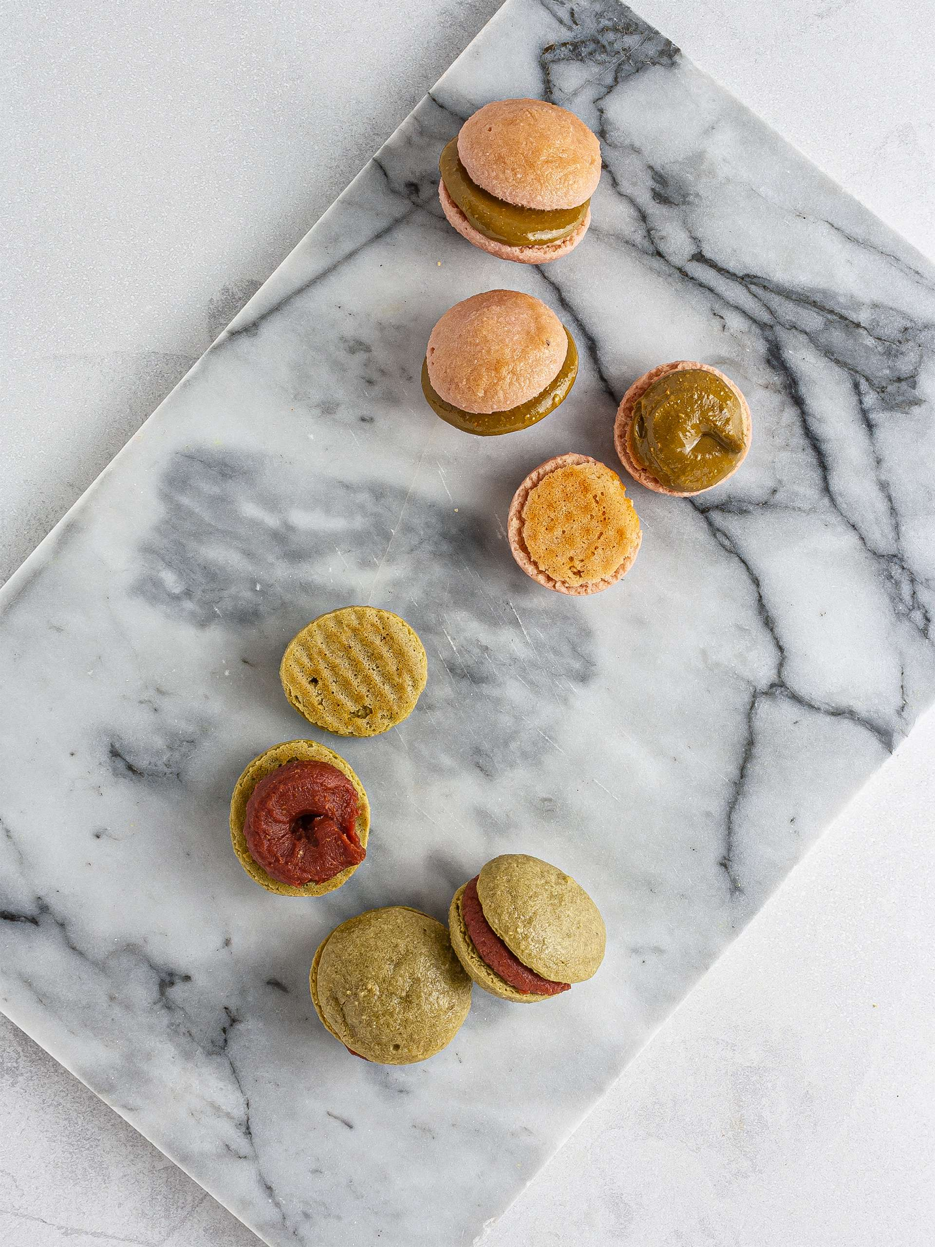 Macarons assembled with cashew butter
