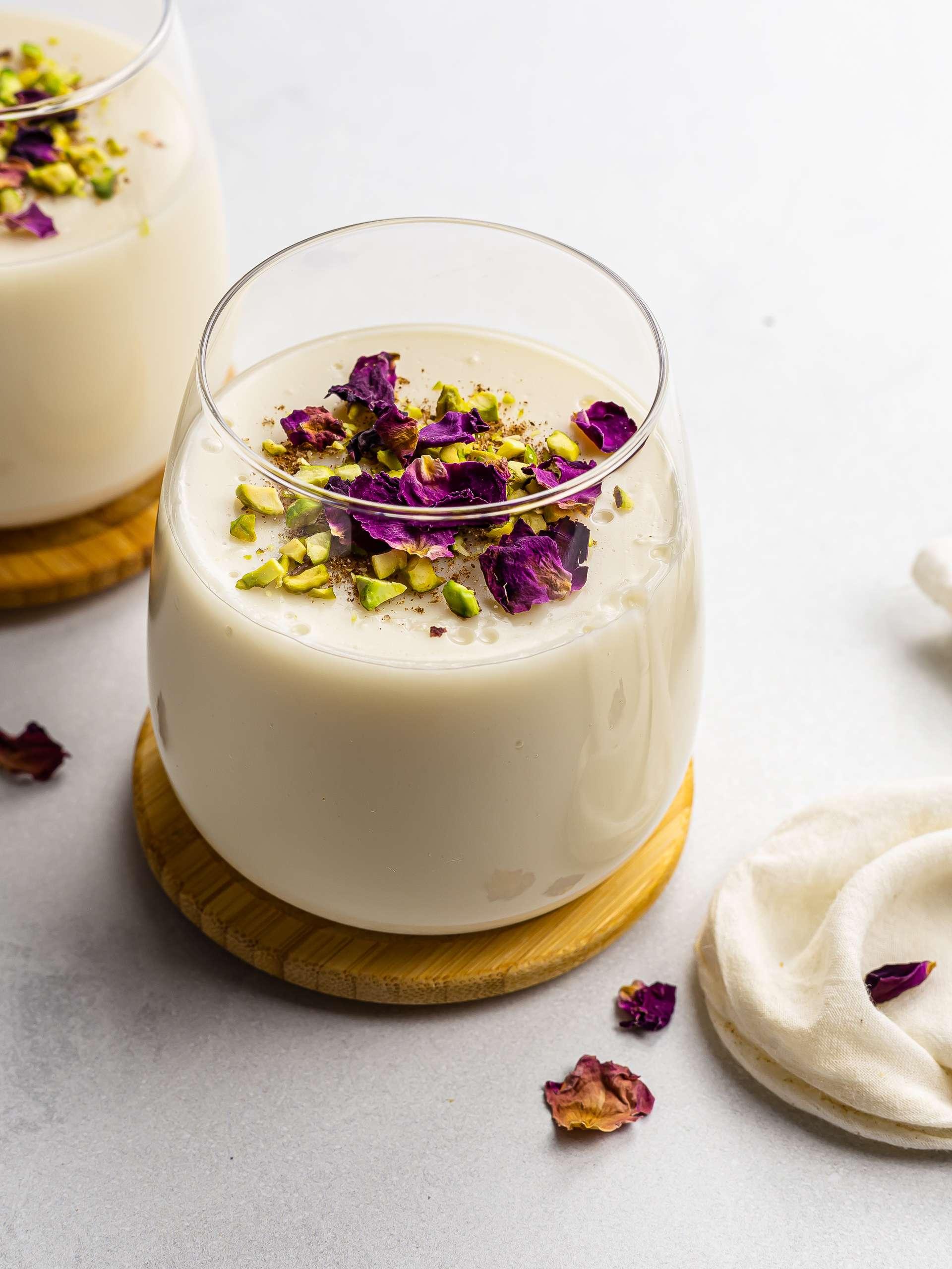 Vegan Muhallebi (Middle Eastern Rose Pudding)