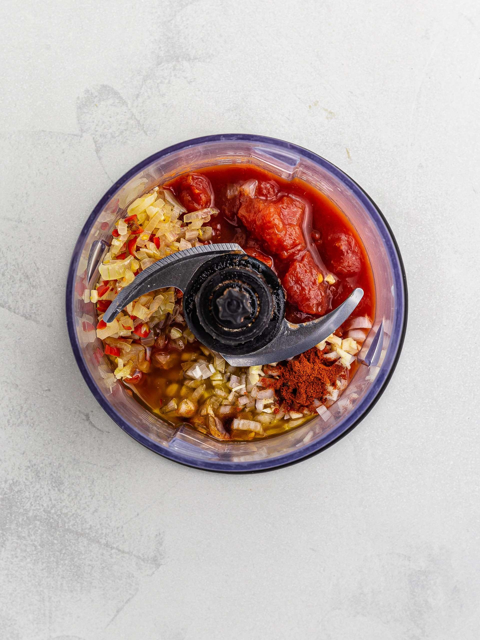 kebab chilli shop sauce ingredients in a blender