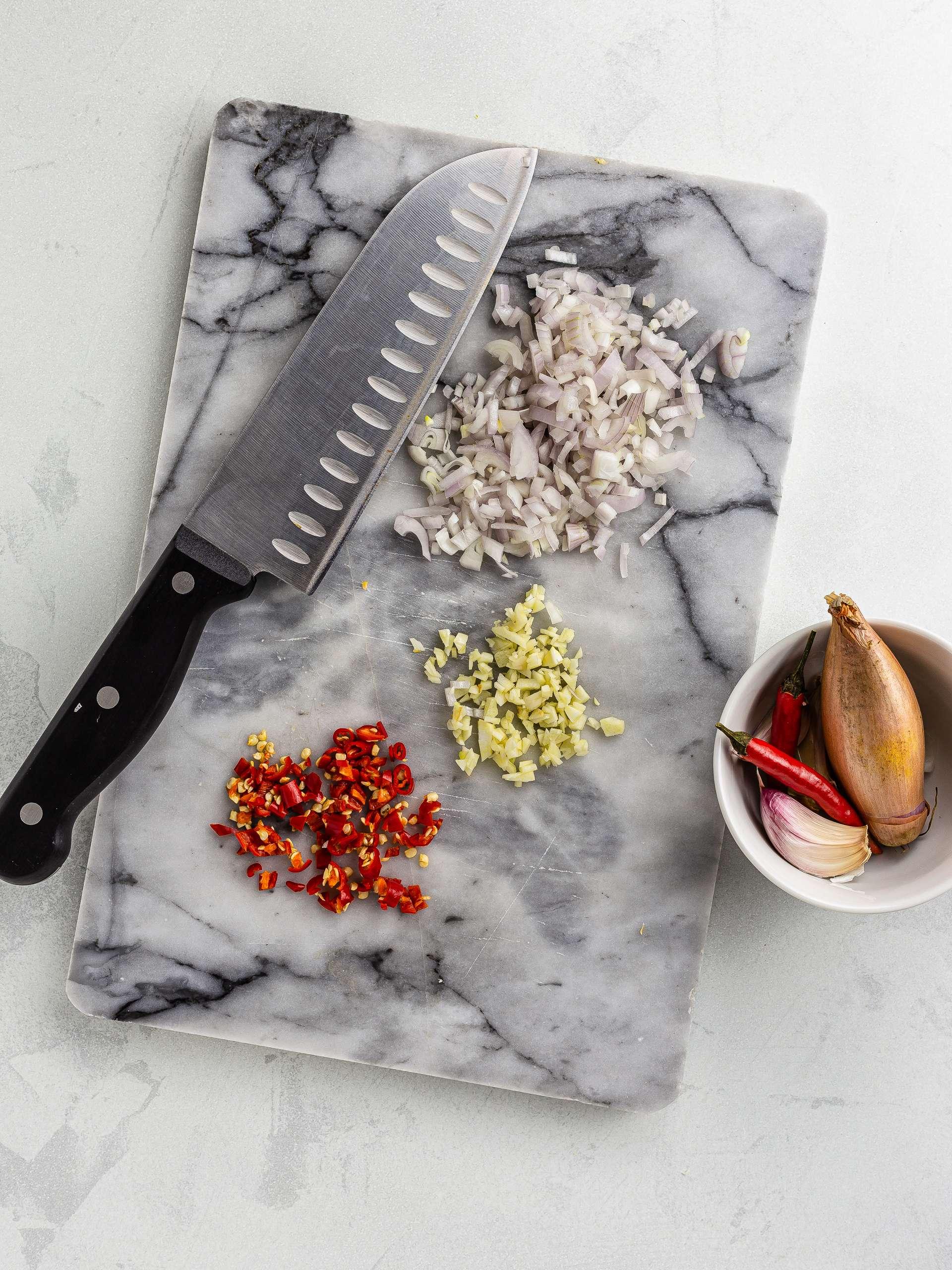 chopped shallots, onions, and bird's eye chillies
