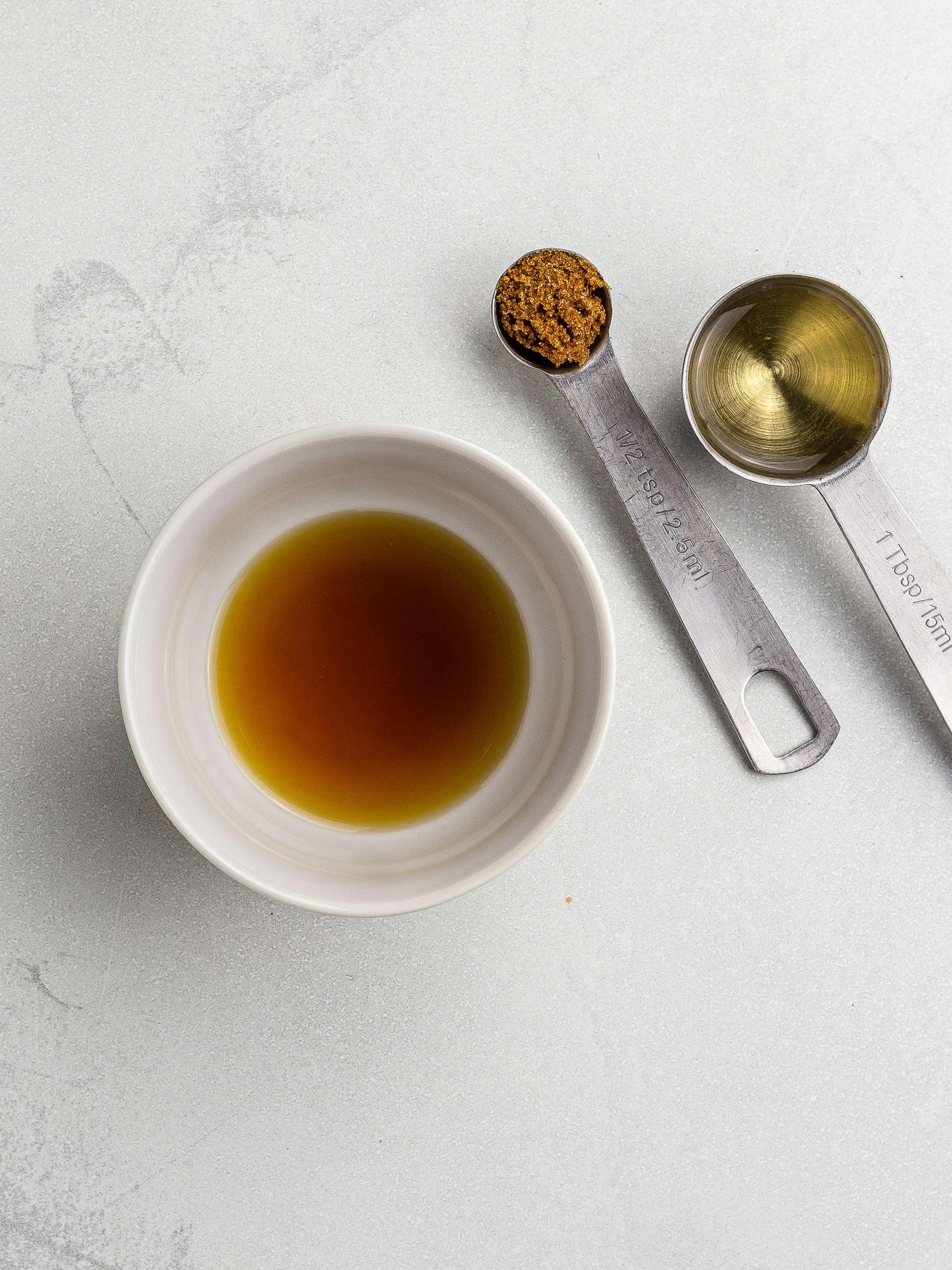 vinegar with brown sugar in a pot