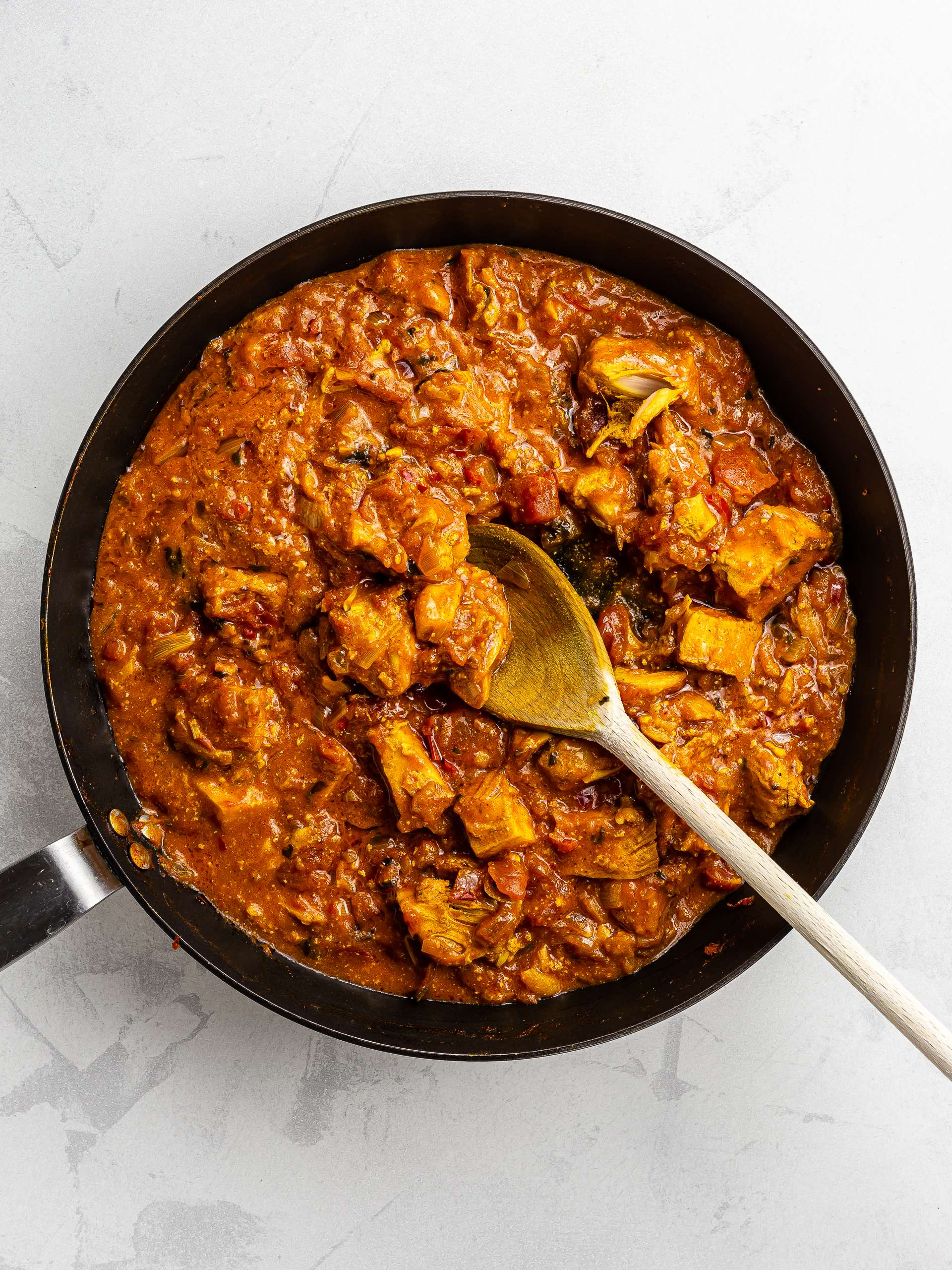 jackfruit tikka masala curry in a skillet