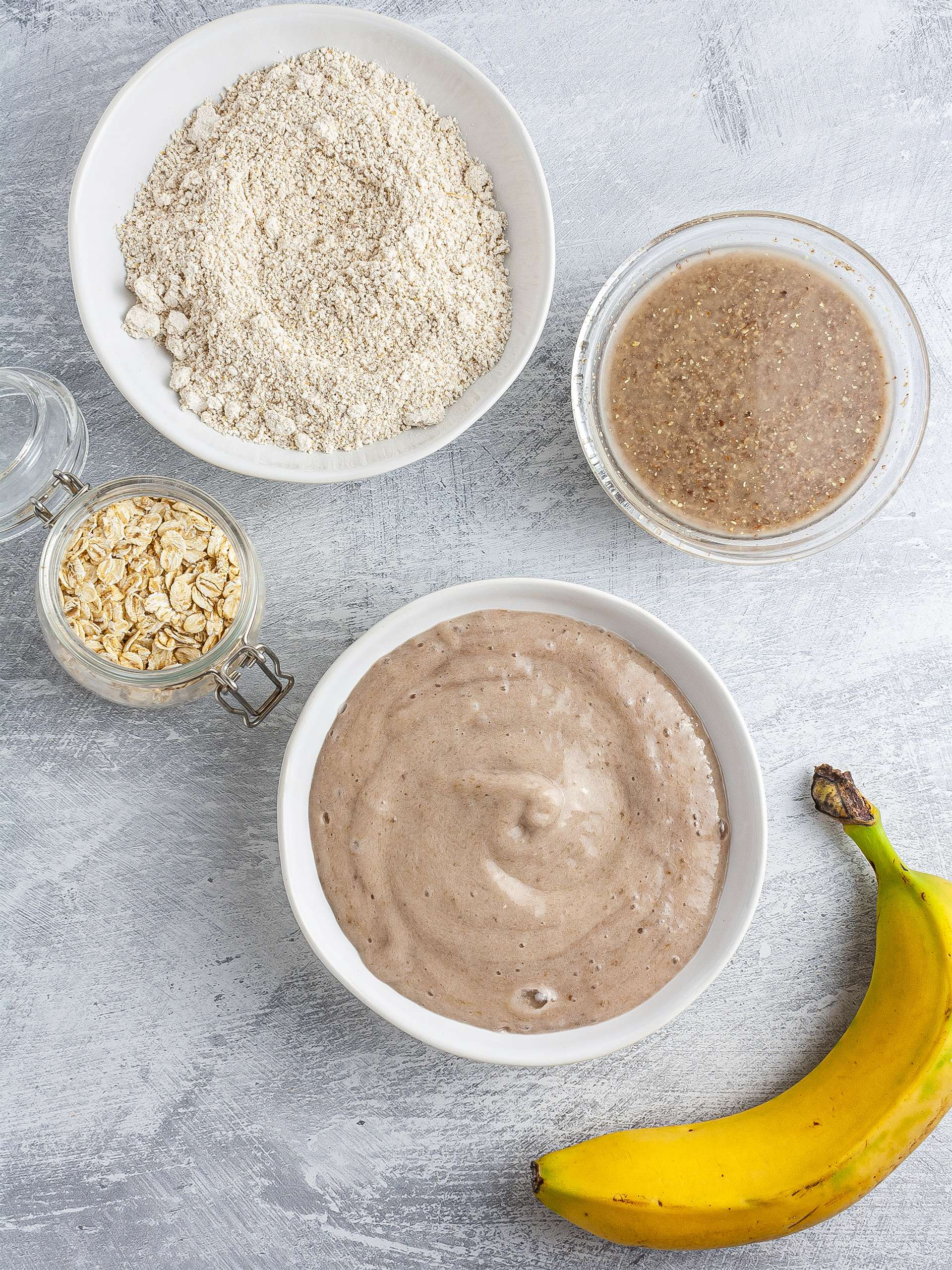 Oat flour, mashed bananas, and flaxegg