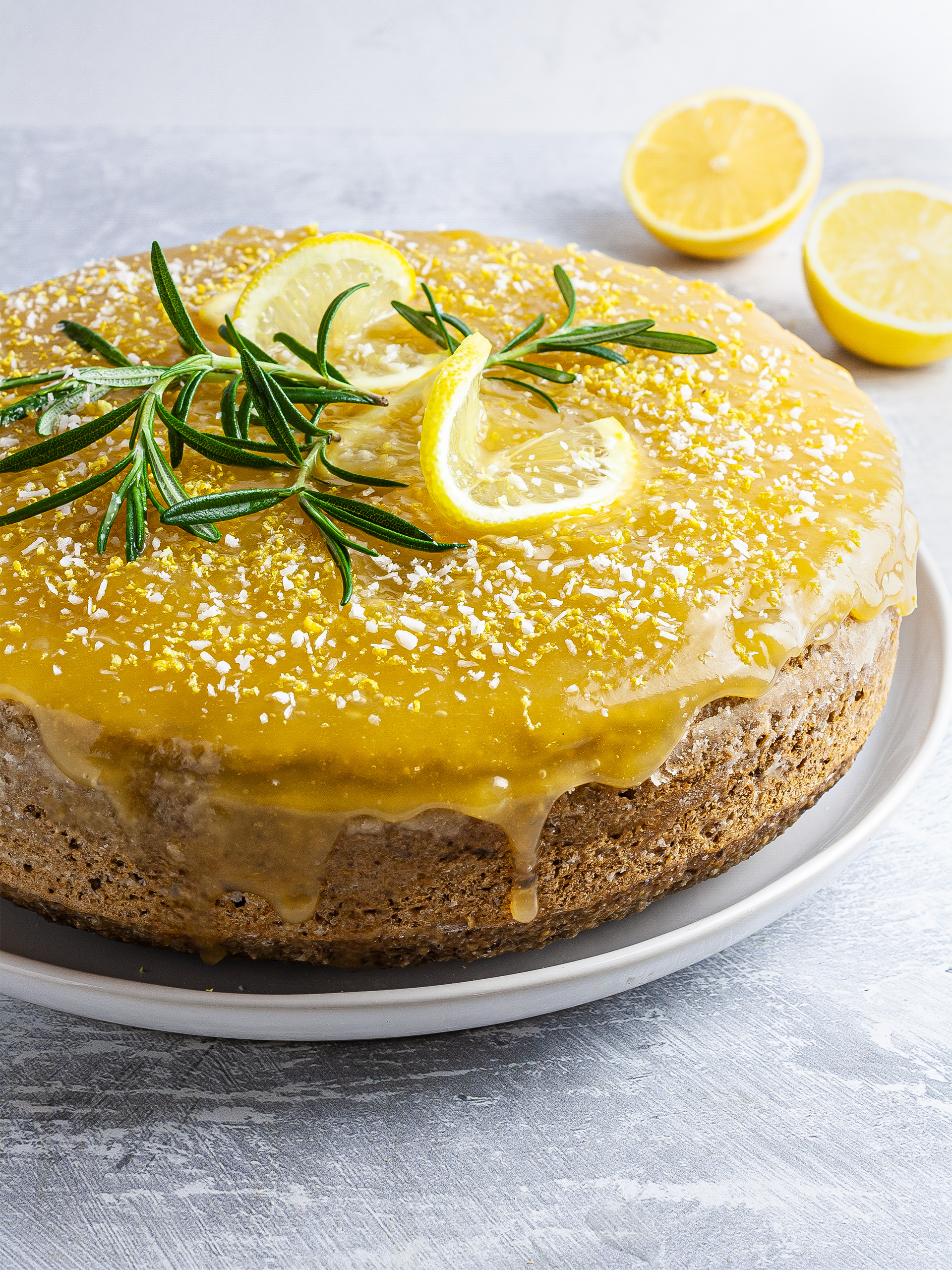 {Vegan, GF} Lemon Rosemary & Olive Oil Cake Thumbnail