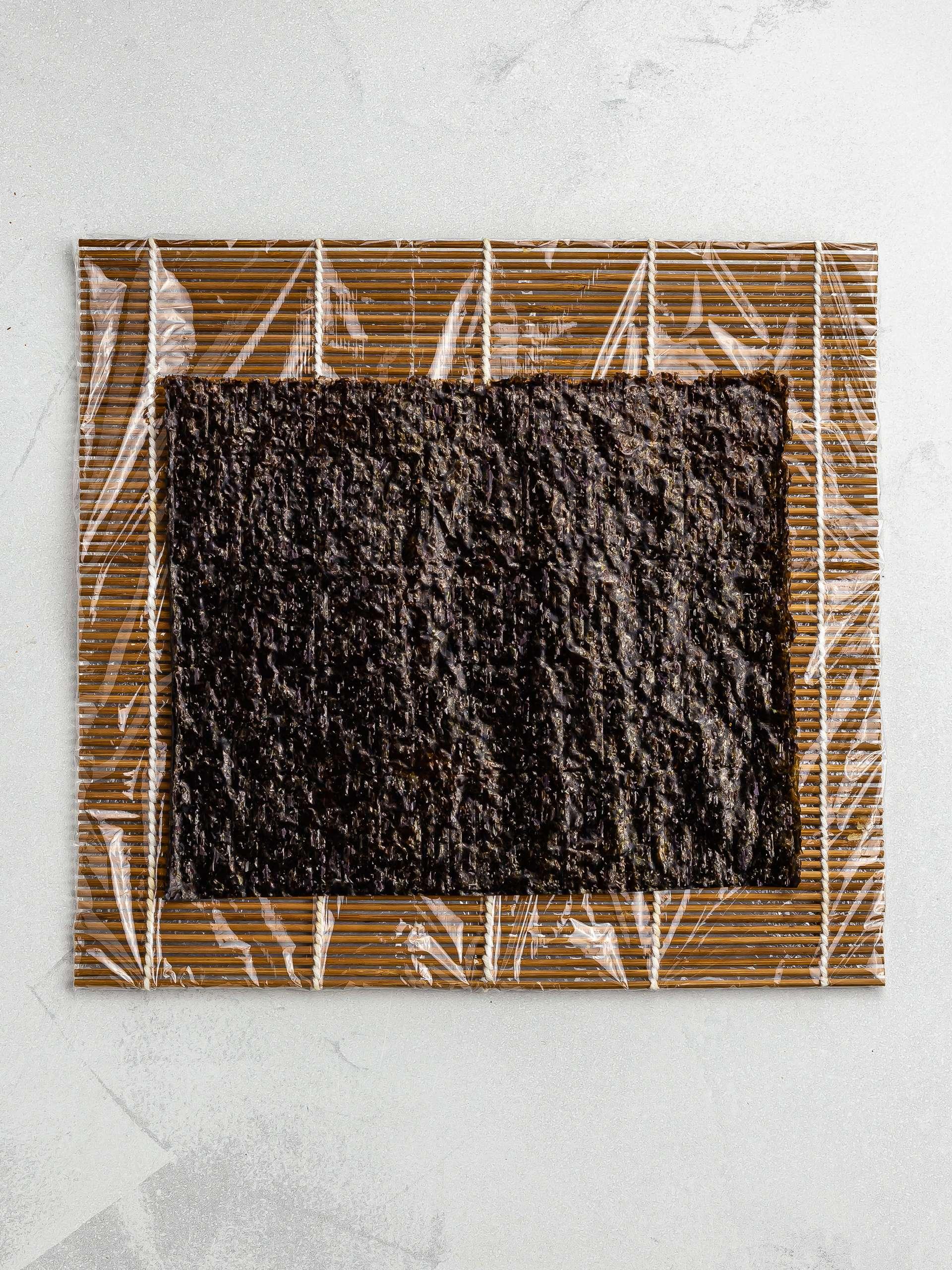 bamboo mat lined with nori sheet