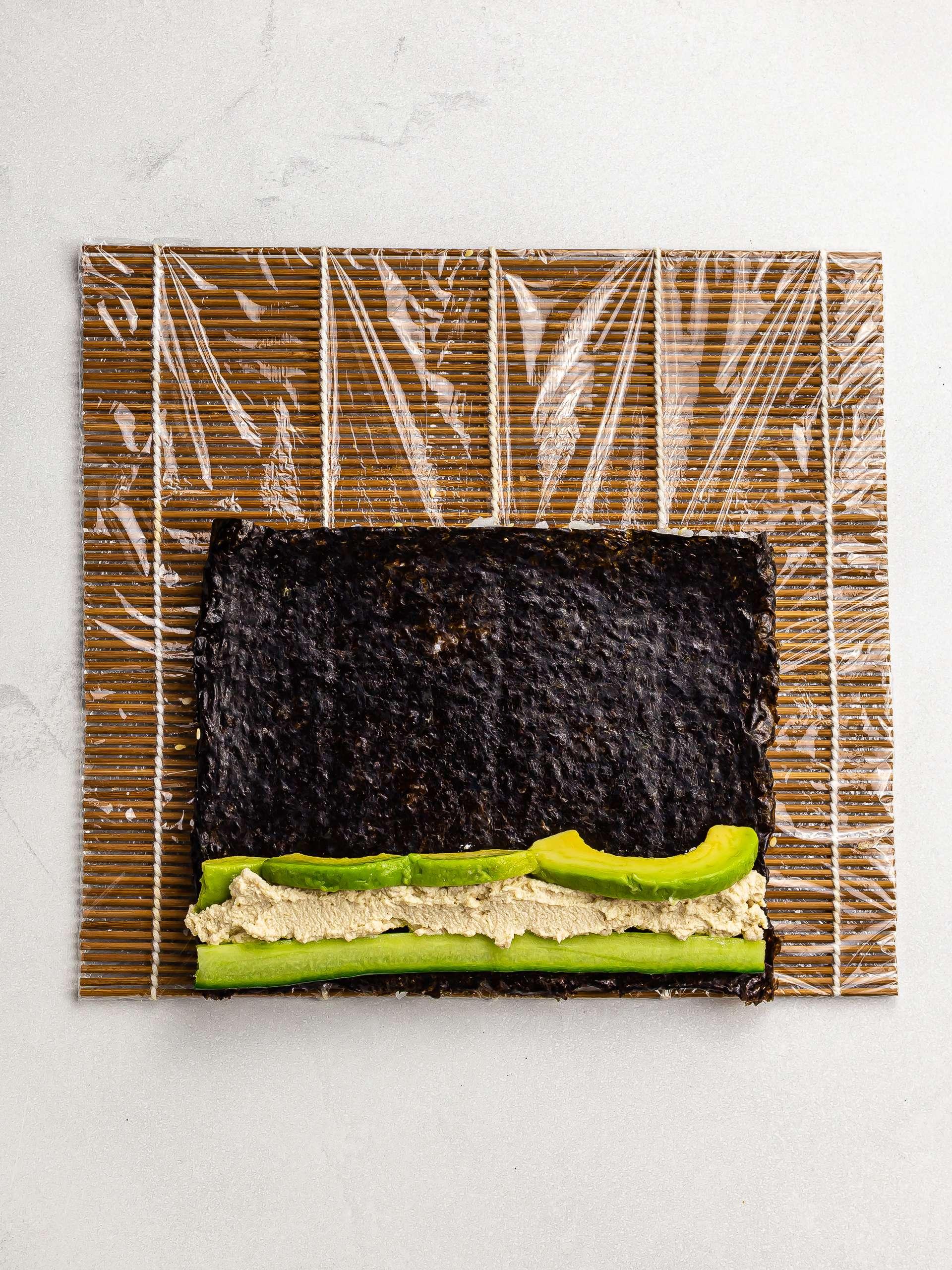 nori sheet with cucumber tofu and avocado