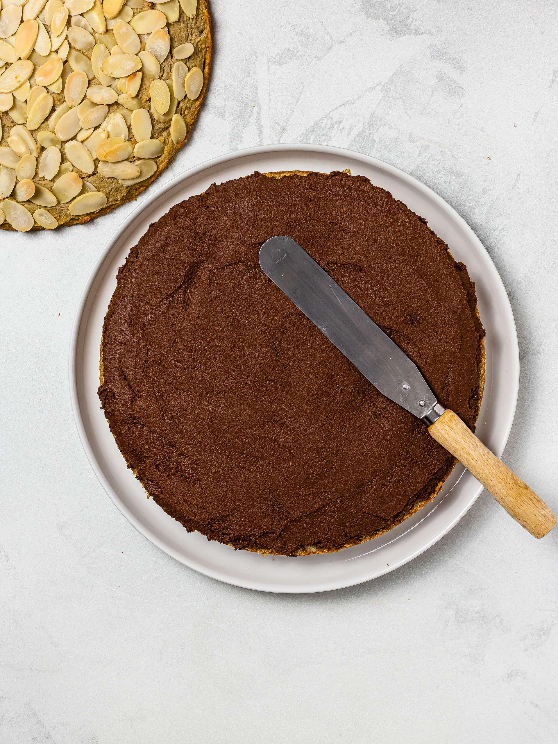 almond cake filled with vegan chocolate cream