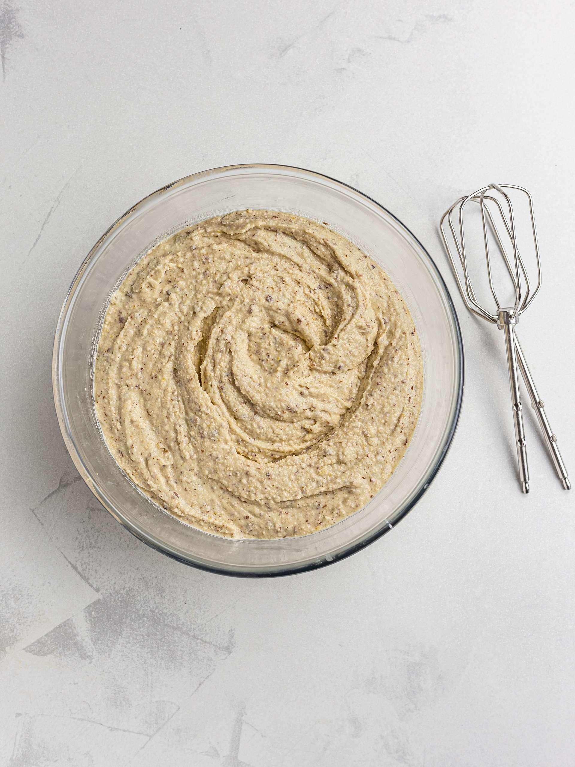 gluten-free cake batter in a bowl
