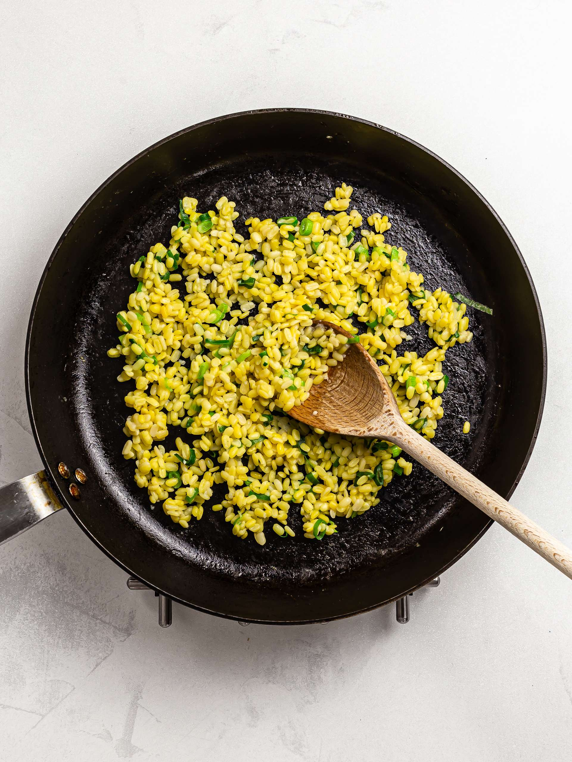 cooked mung dal in a skillet
