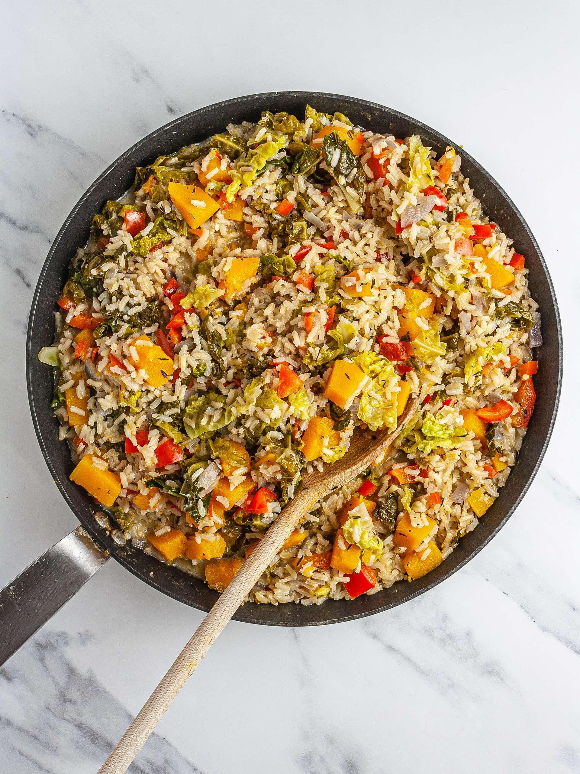 Cooked Jamaican pumpkin rice