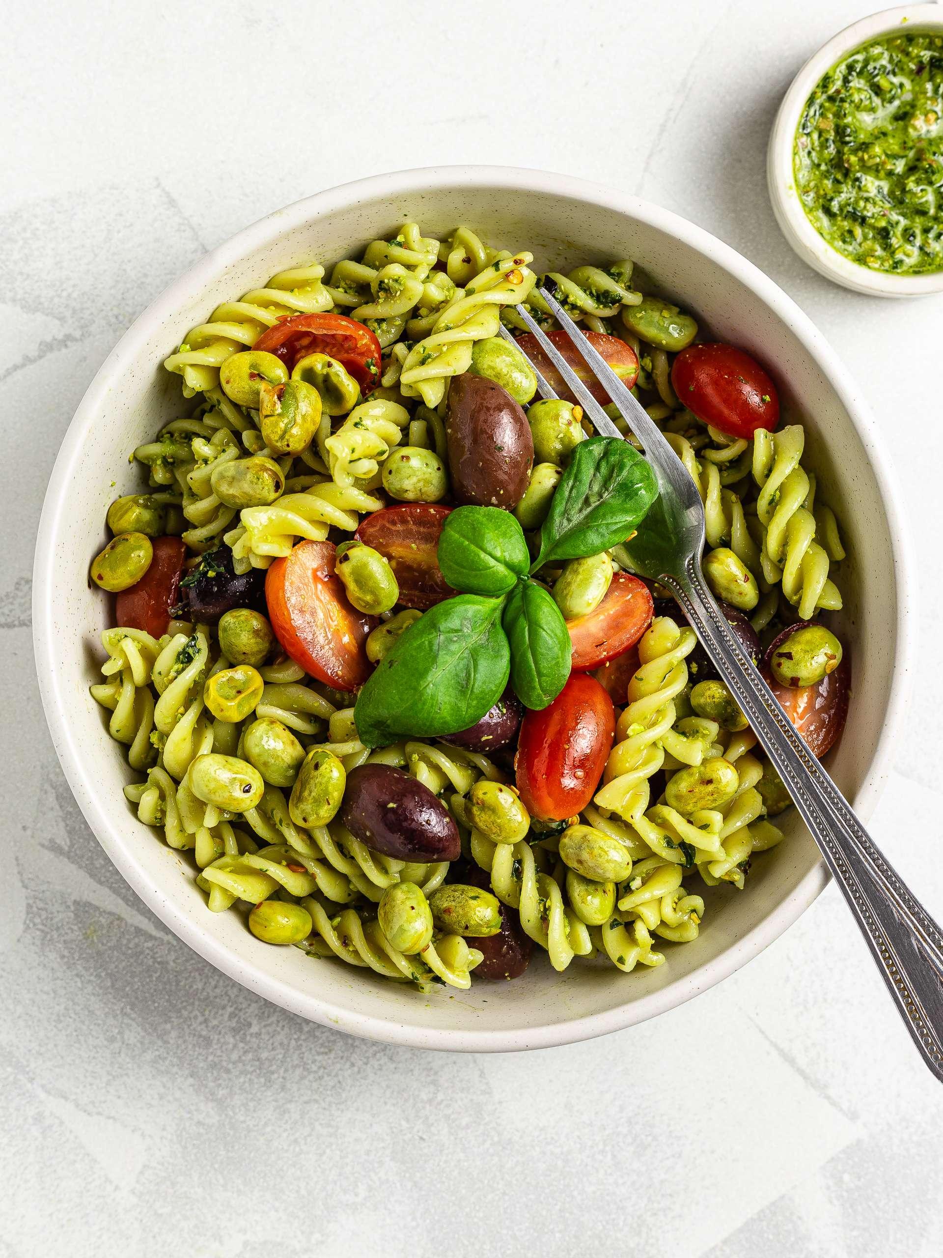 Vegan Quinoa Pasta Salad Recipe Thumbnail
