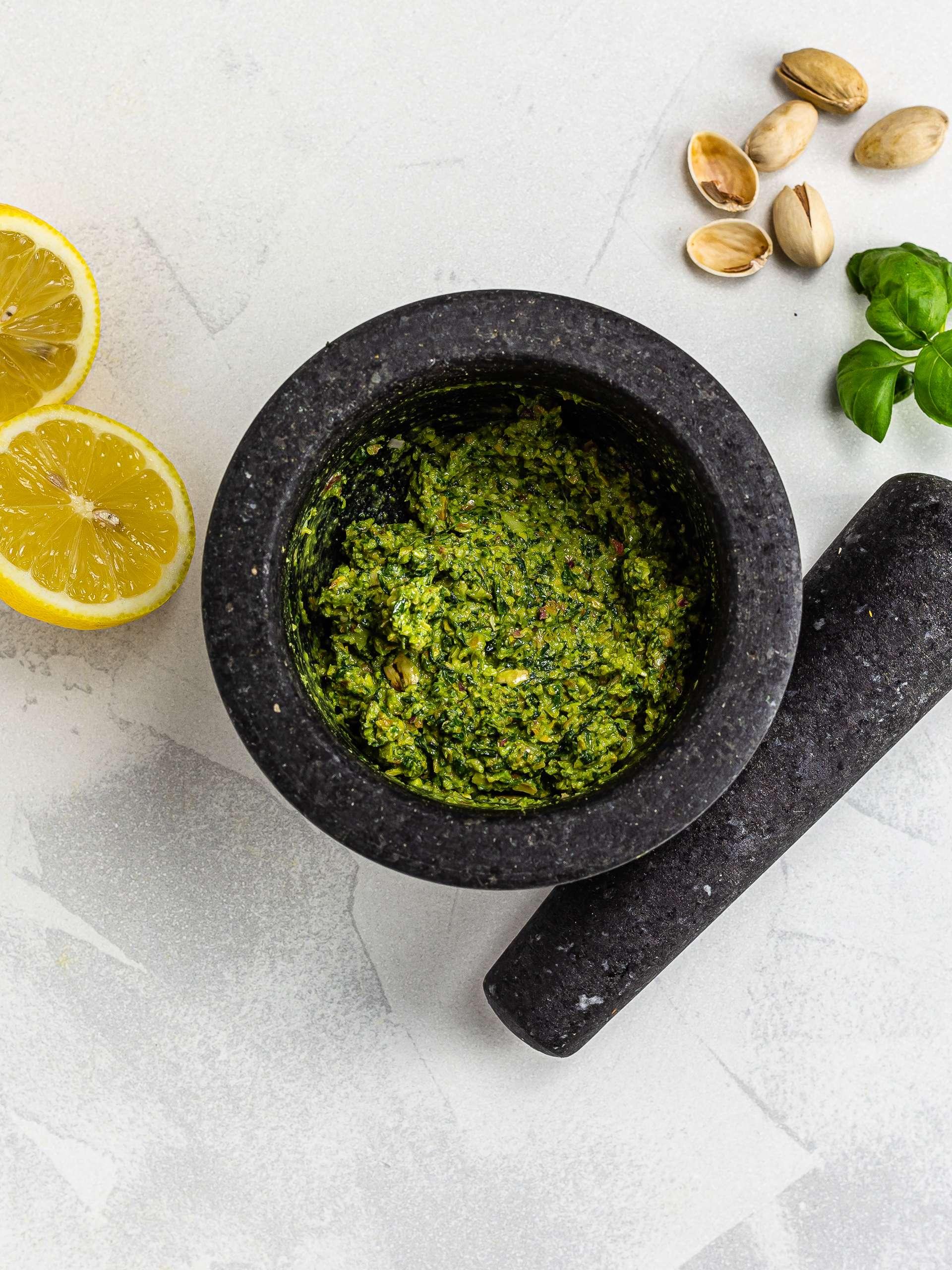 pesto with pistachios and lemon