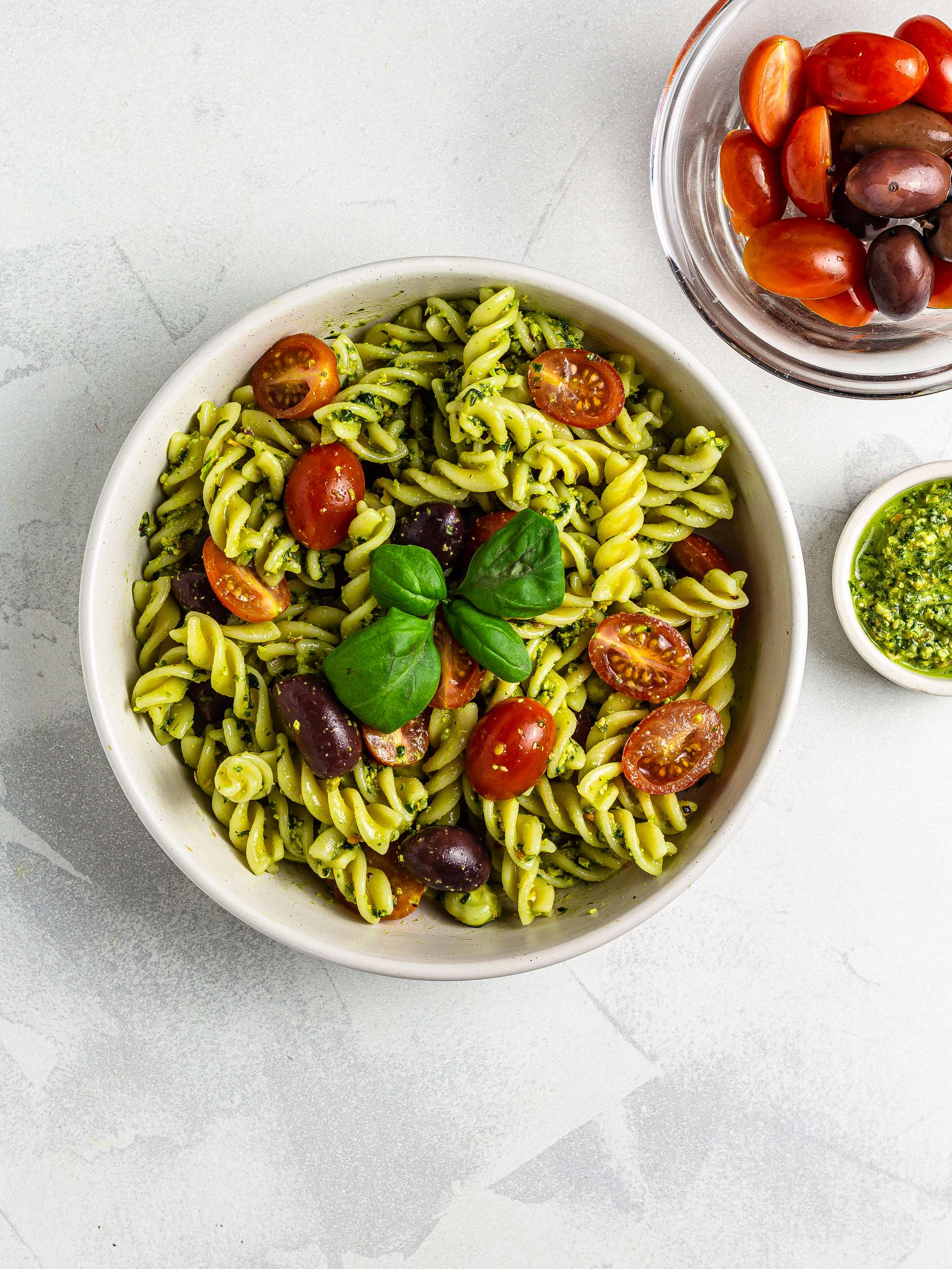 quinoa pasta salad with tomatoes and olives