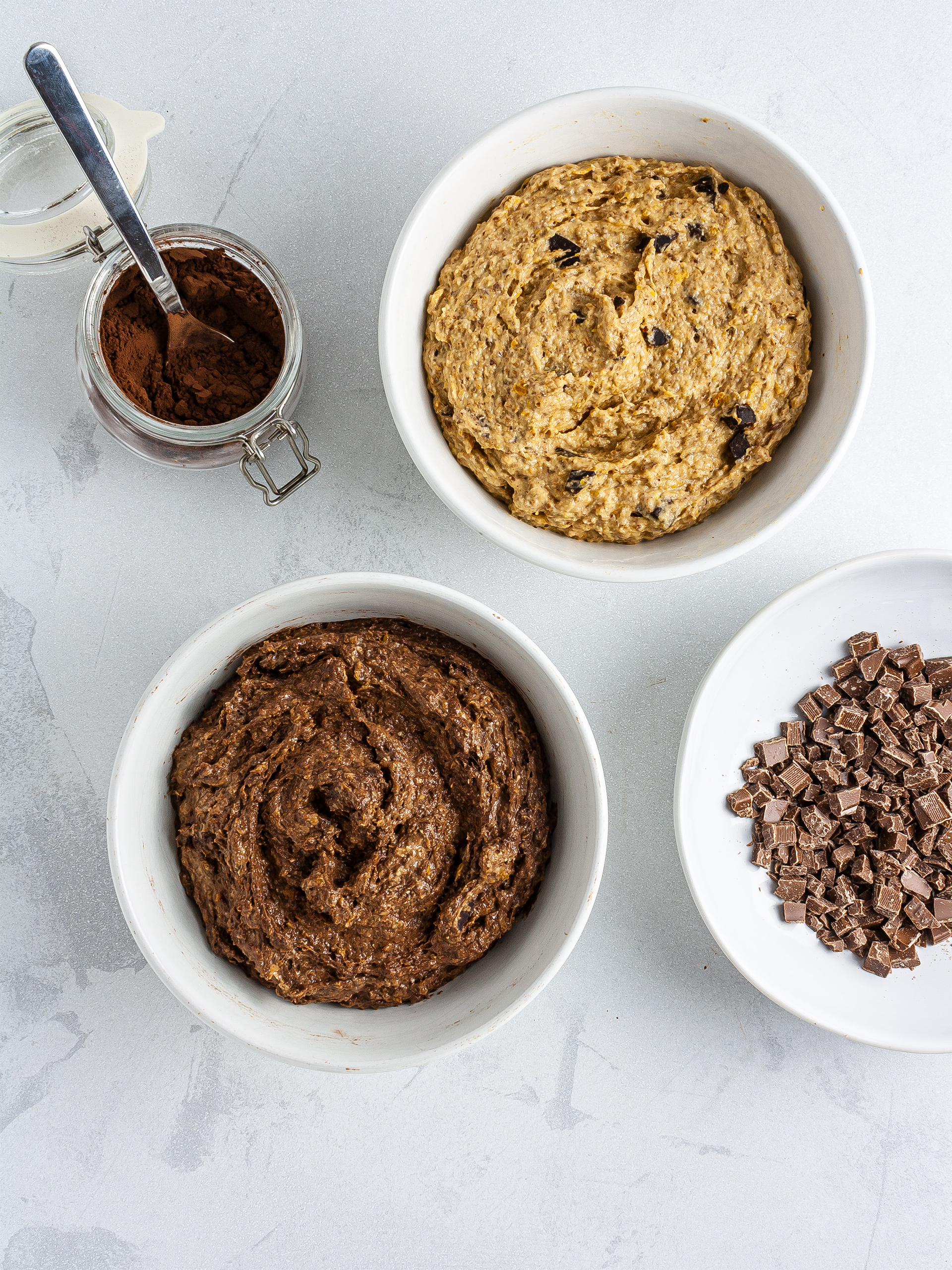 Pumpkin bread batter with cacao and chocolate chips