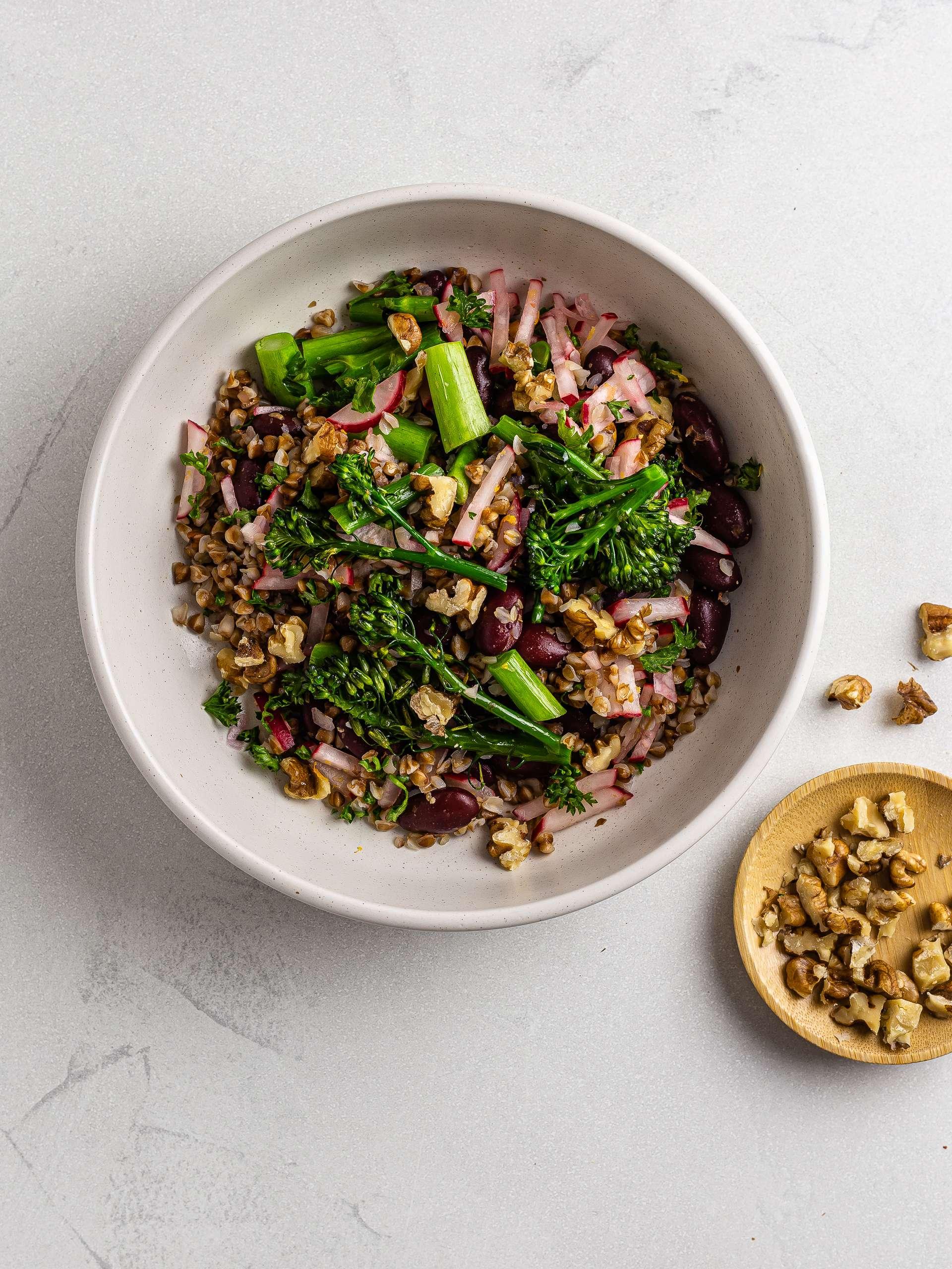 broccoli buckwheat salad with walnuts