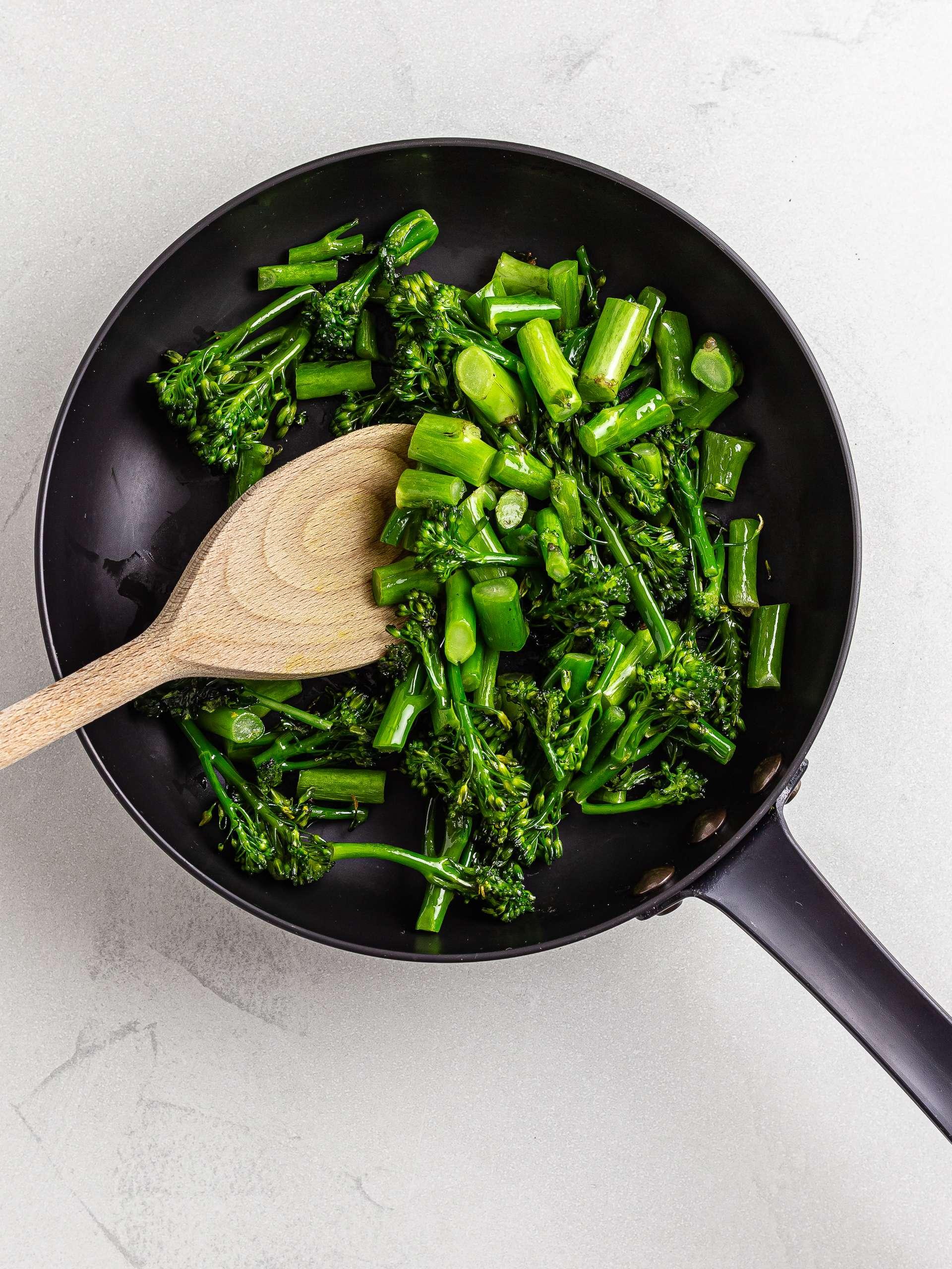 sauteed tenderstem broccoli in a skillet